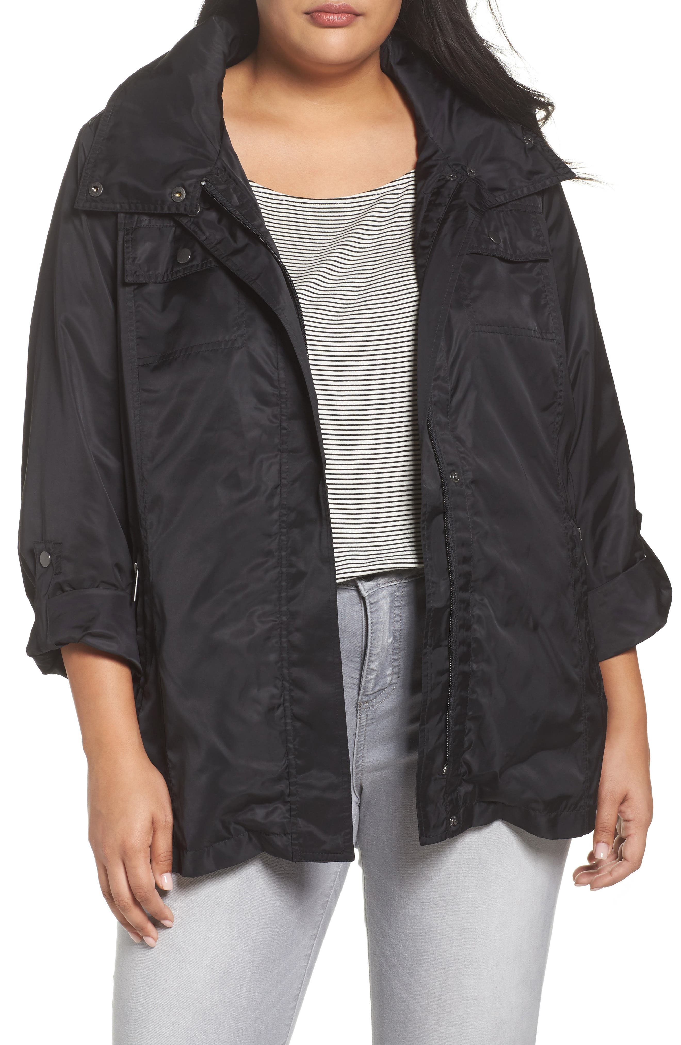 HALOGEN<SUP>®</SUP> Belted Lightweight Jacket, Main, color, BLACK
