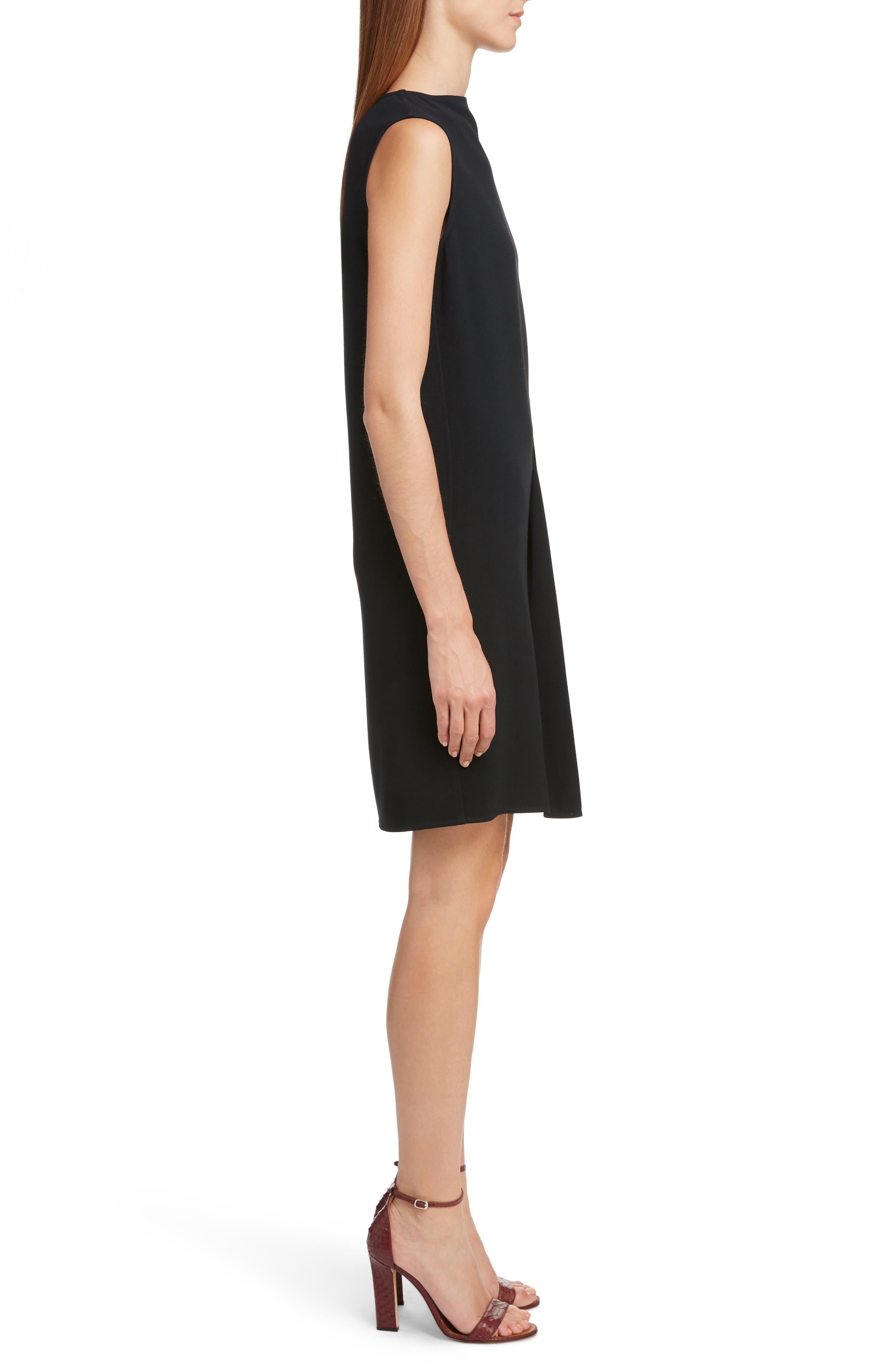 VICTORIA BECKHAM, Asymmetrical Pleat Shift Dress, Alternate thumbnail 3, color, BLACK