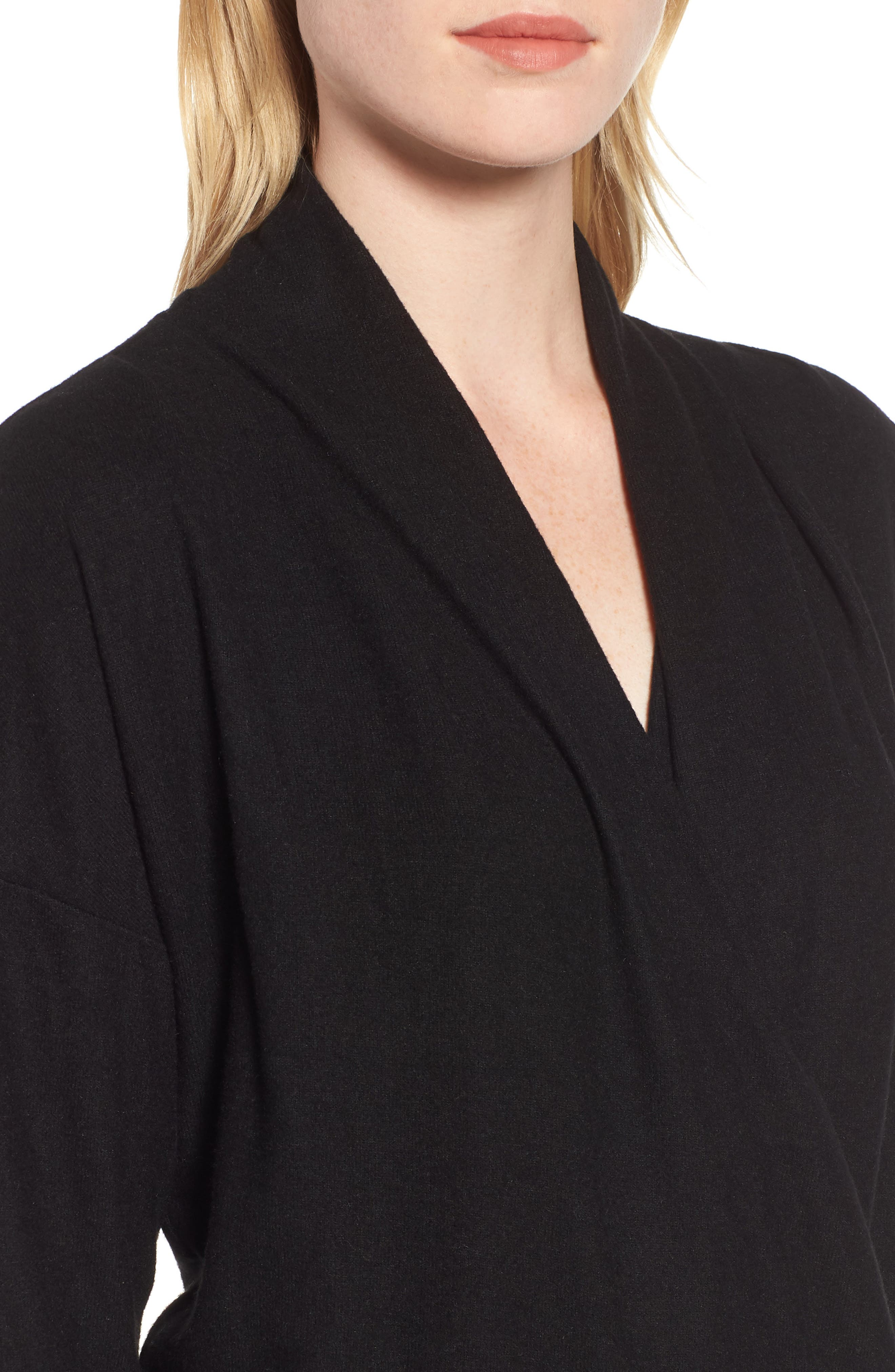 GIBSON, x Living in Yellow Diana Cozy Knit Wrap Top, Alternate thumbnail 4, color, SOLID BLACK
