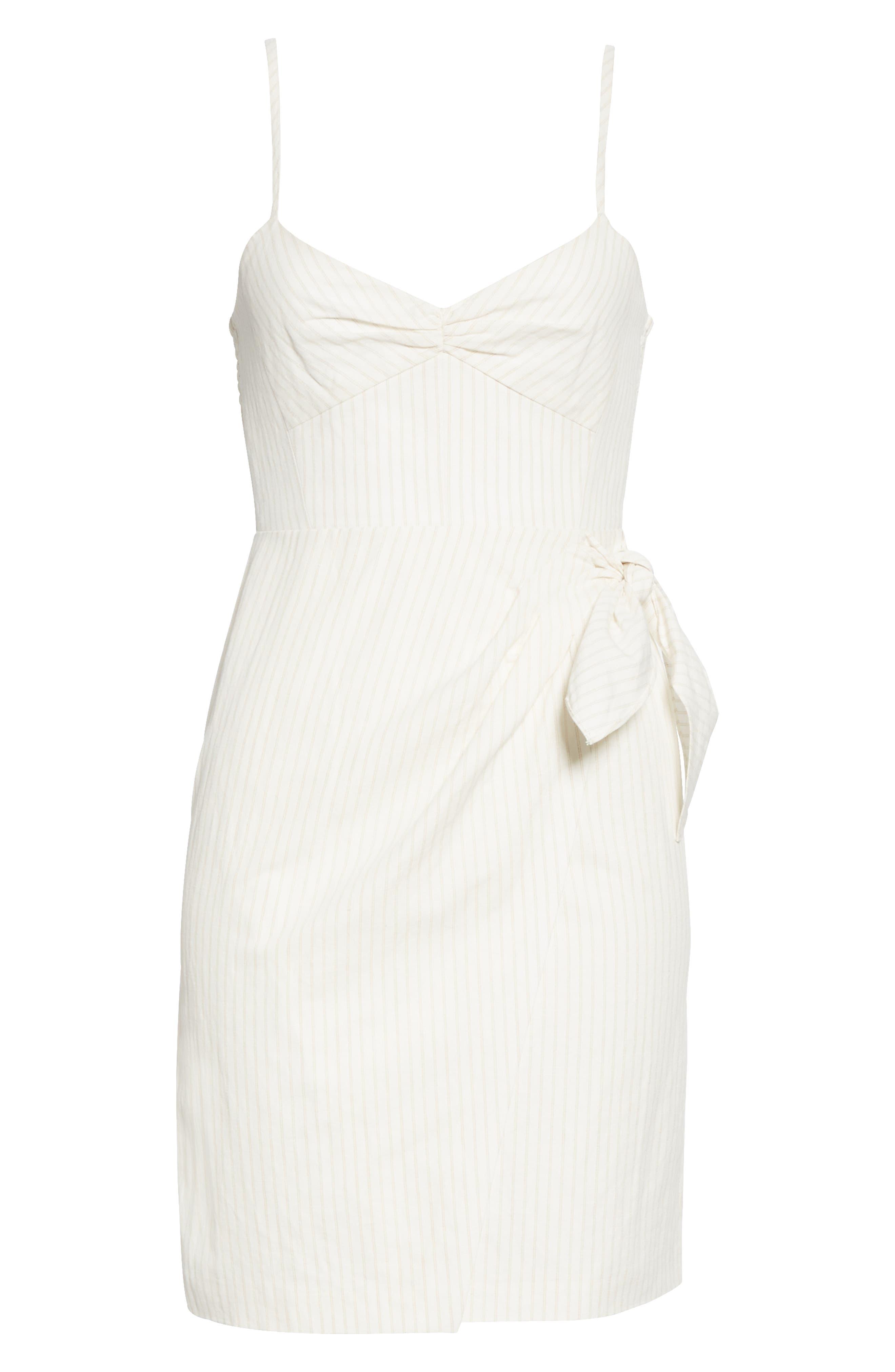 REBECCA TAYLOR, Pinstripe Cotton & Linen Dress, Alternate thumbnail 6, color, SNOW COMBO