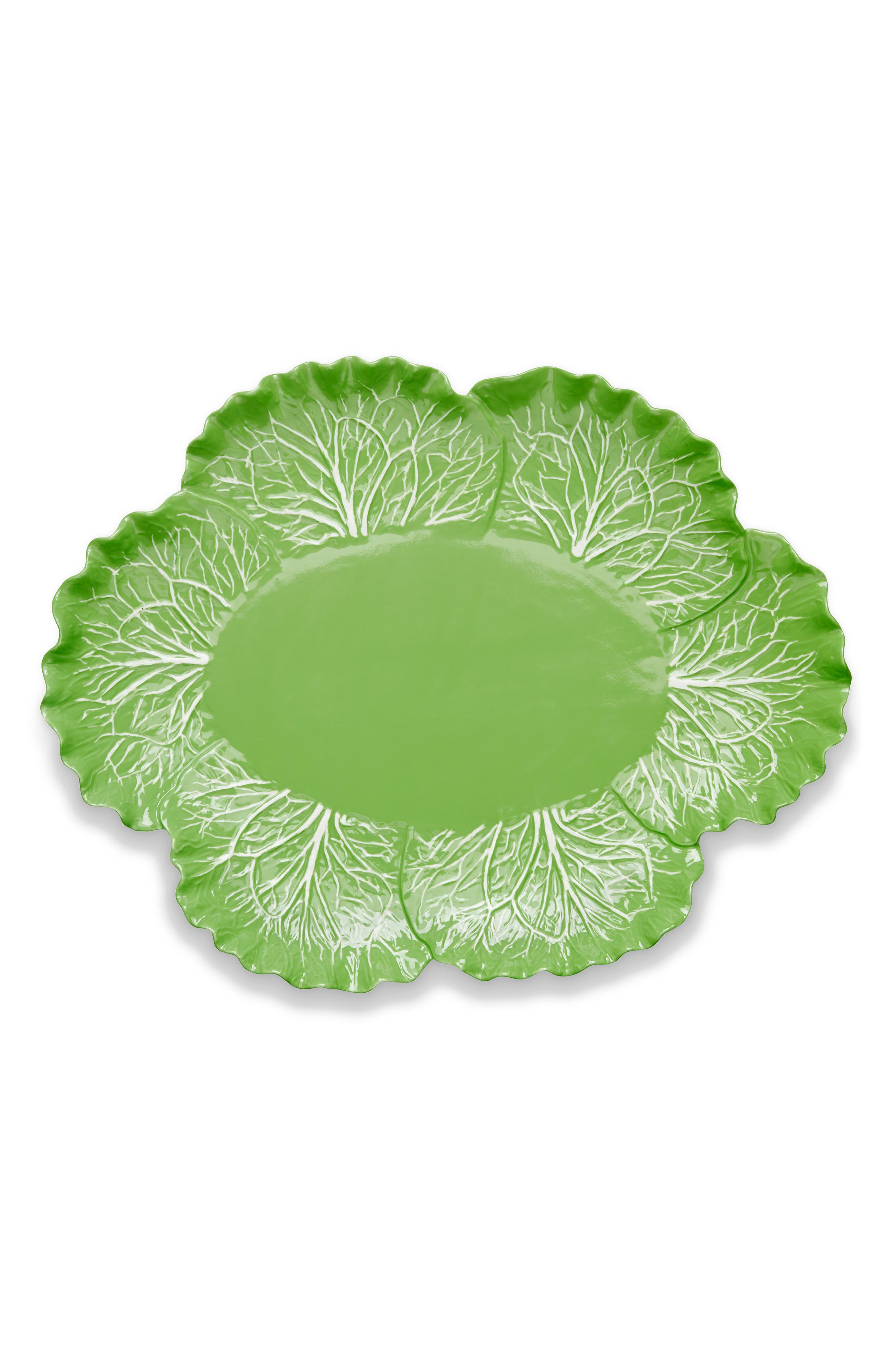 TORY BURCH, Lettuce Ware Oval Serving Platter, Main thumbnail 1, color, 307