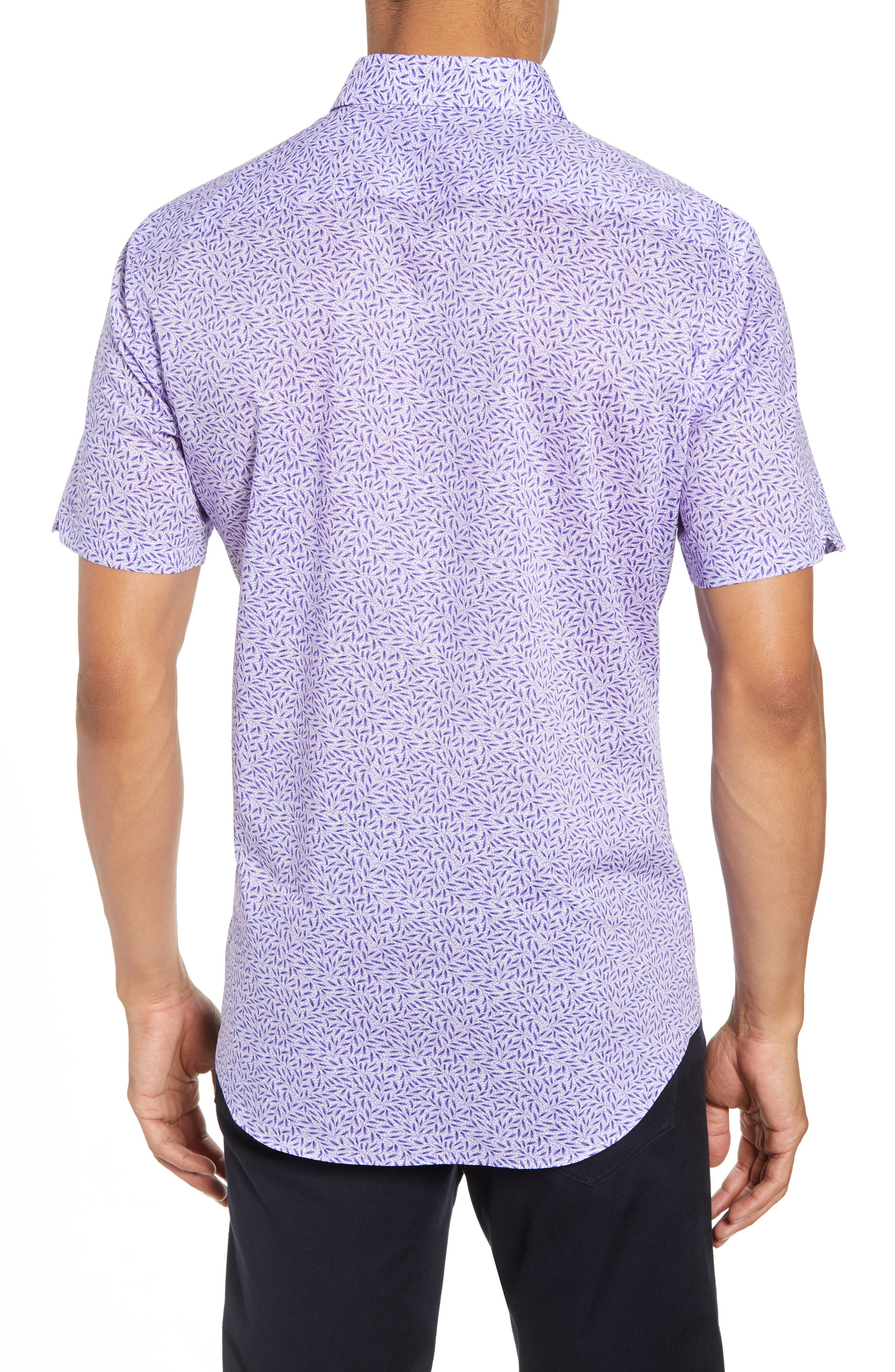 ZACHARY PRELL, Stiller Regular Fit Sport Shirt, Alternate thumbnail 2, color, PURPLE