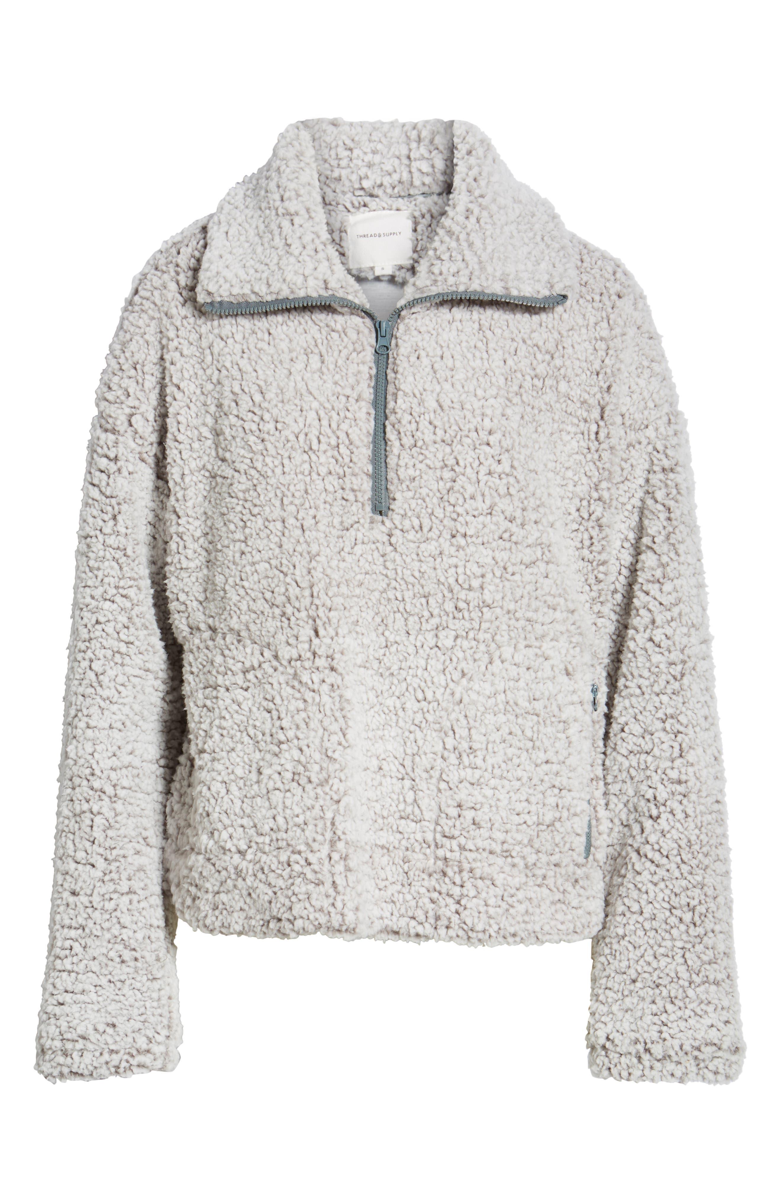 THREAD & SUPPLY, Quarter Zip Fleece Pullover, Alternate thumbnail 6, color, SILVER