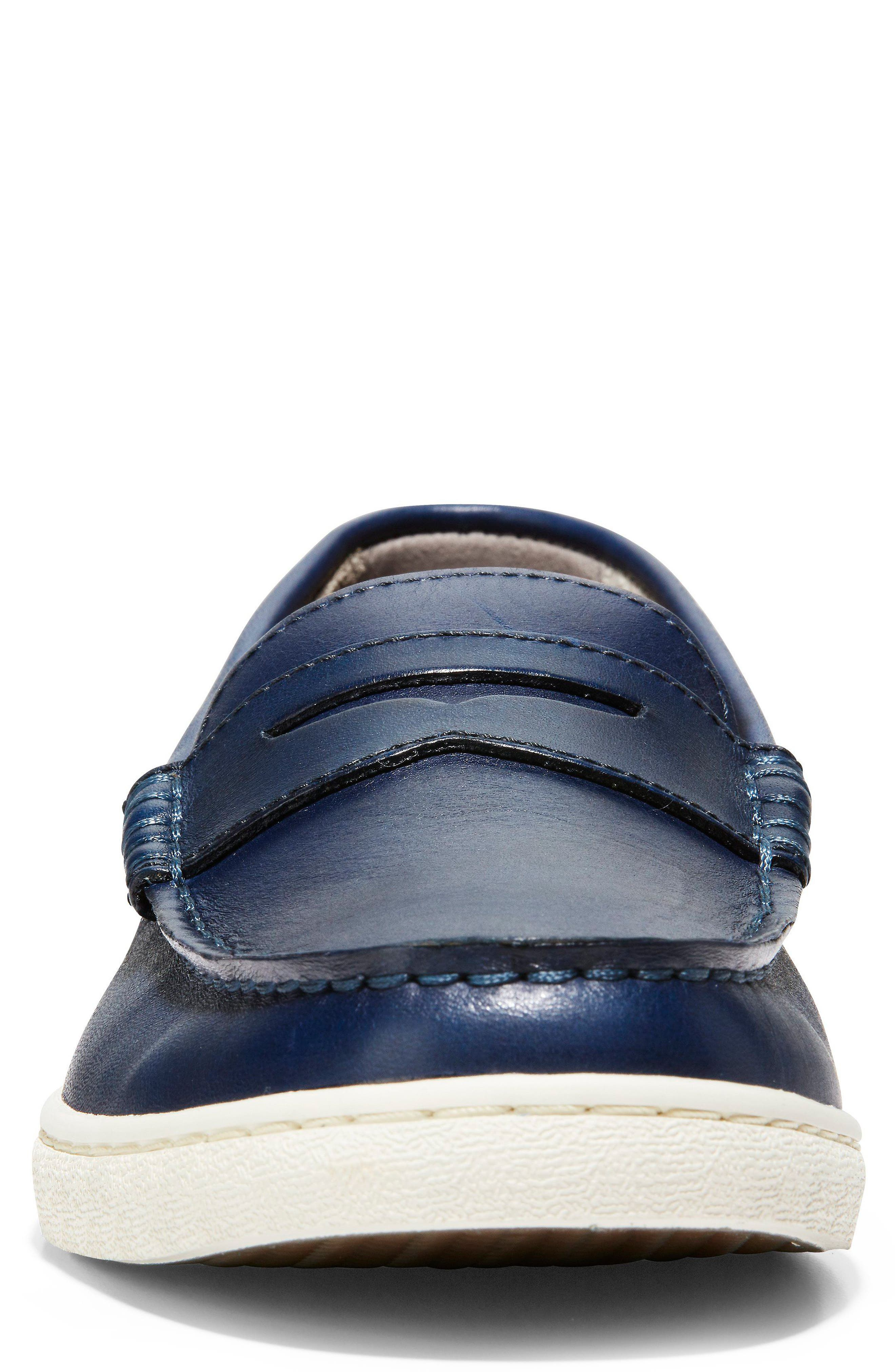 COLE HAAN, Pinch Penny Loafer, Alternate thumbnail 4, color, BLAZER BLUE LEATHER