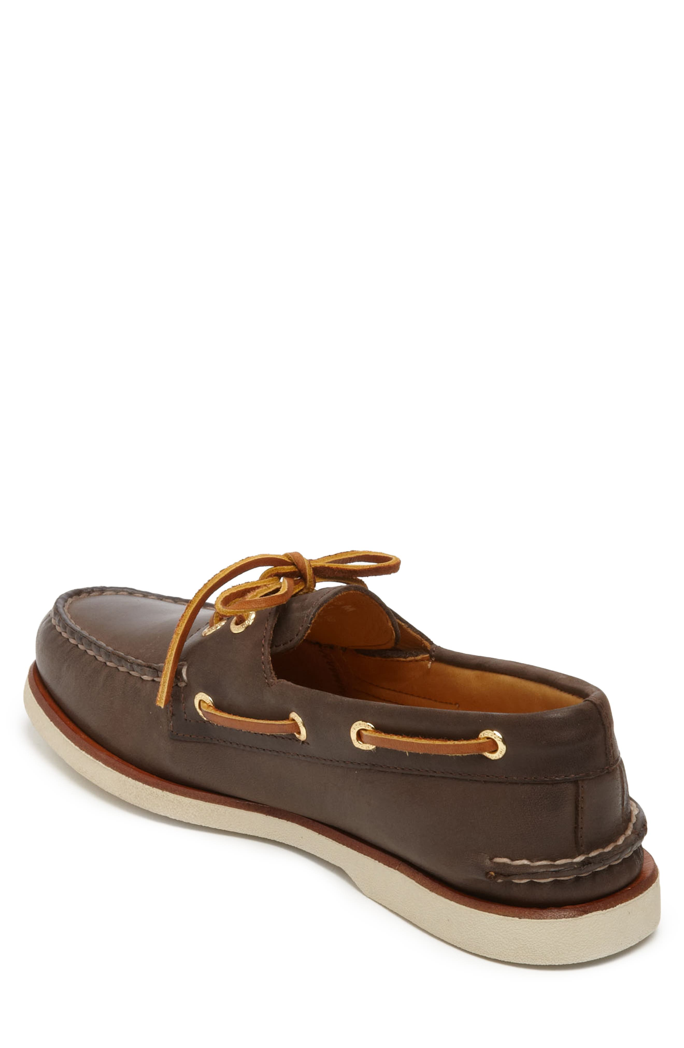 SPERRY, 'Gold Cup - Authentic Original' Boat Shoe, Alternate thumbnail 2, color, DARK BROWN LEATHER