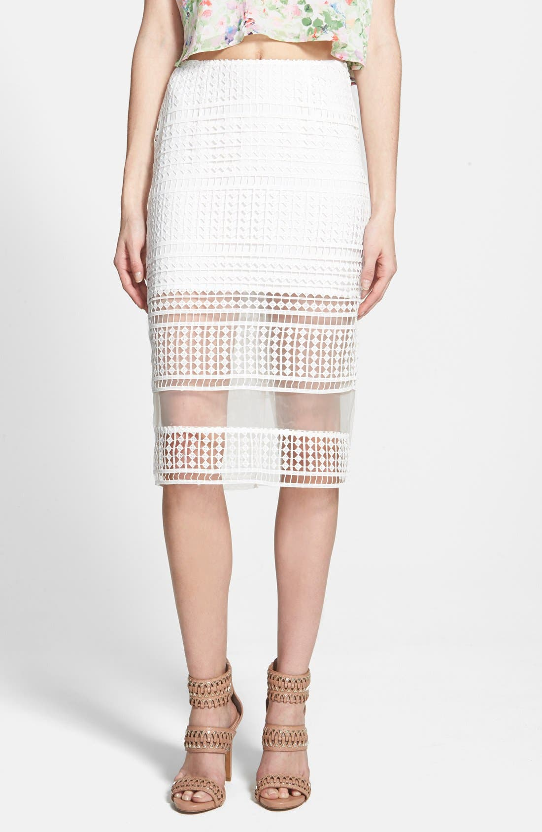 J.O.A., Lace Overlay Pencil Skirt, Main thumbnail 1, color, 900