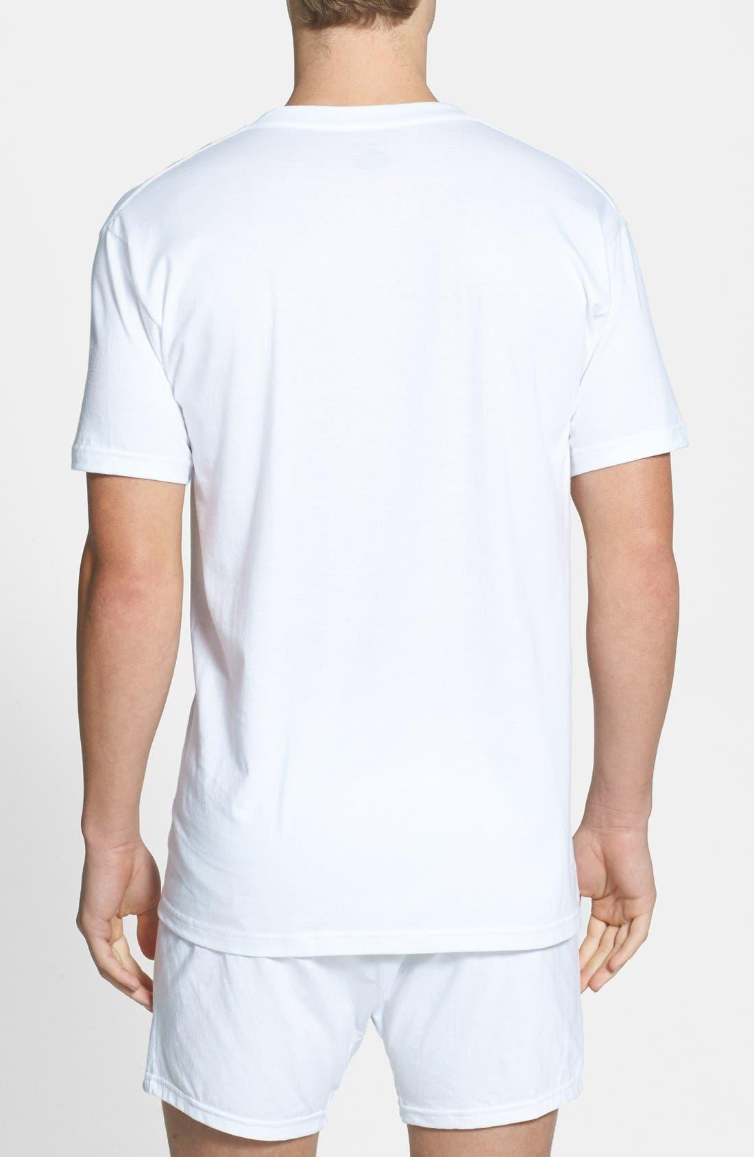 NORDSTROM MEN'S SHOP, 4-Pack Regular Fit Supima<sup>®</sup> Cotton V-Neck T-Shirts, Alternate thumbnail 7, color, WHITE