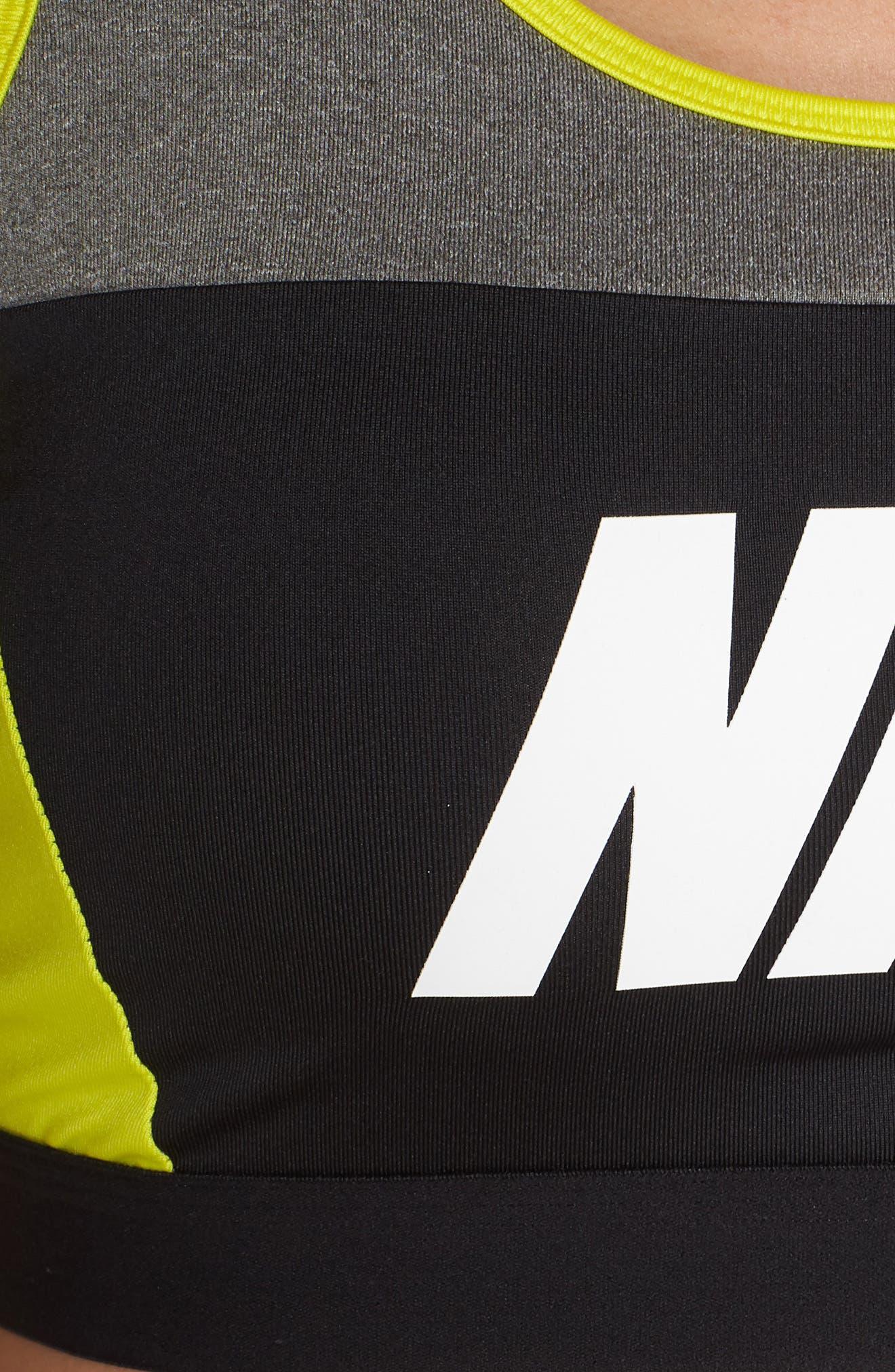 NIKE, Distort Dry Classic Sports Bra, Alternate thumbnail 6, color, 091