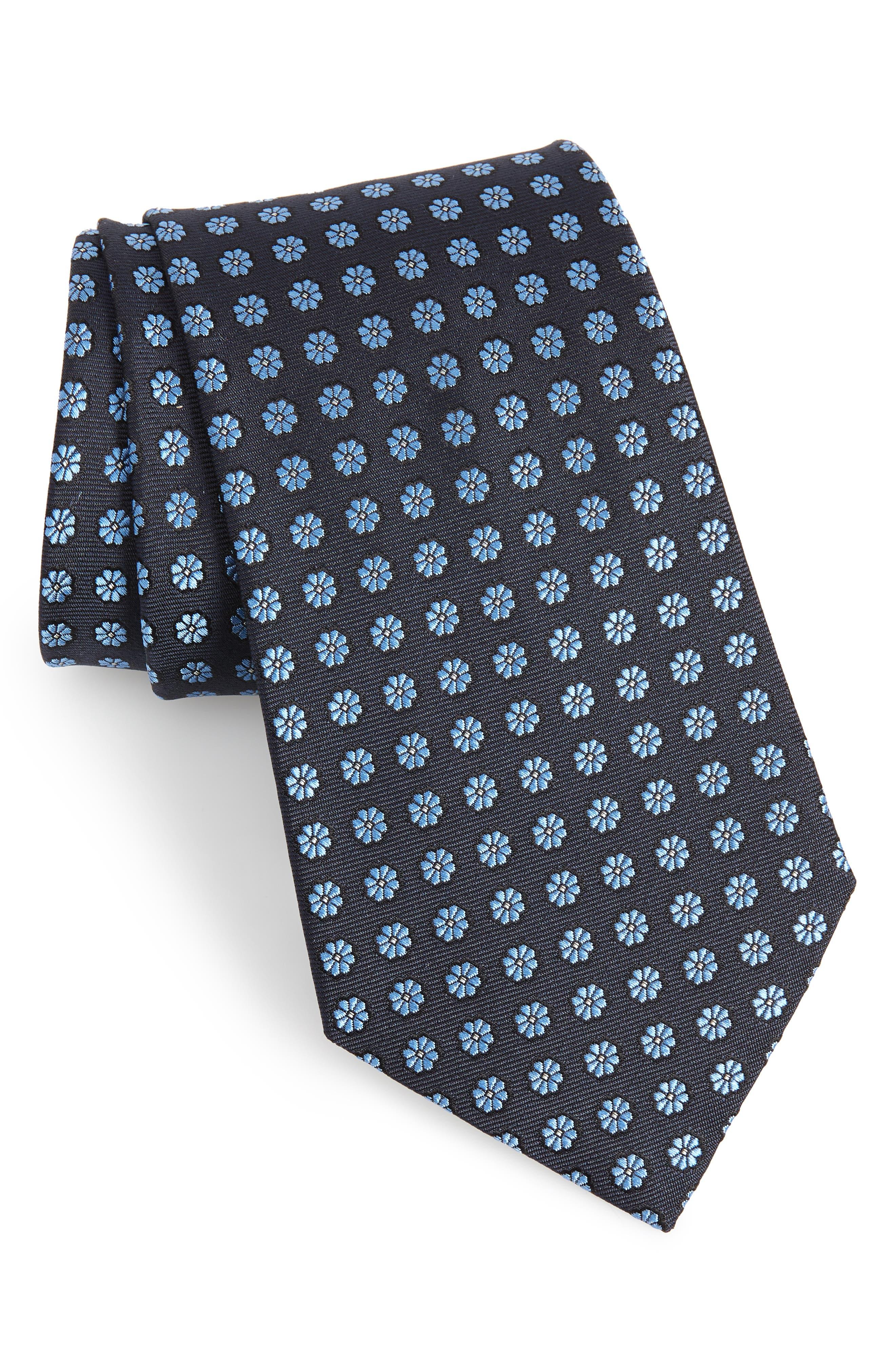 ERMENEGILDO ZEGNA, Floral Silk Tie, Main thumbnail 1, color, BLUE/ NAVY