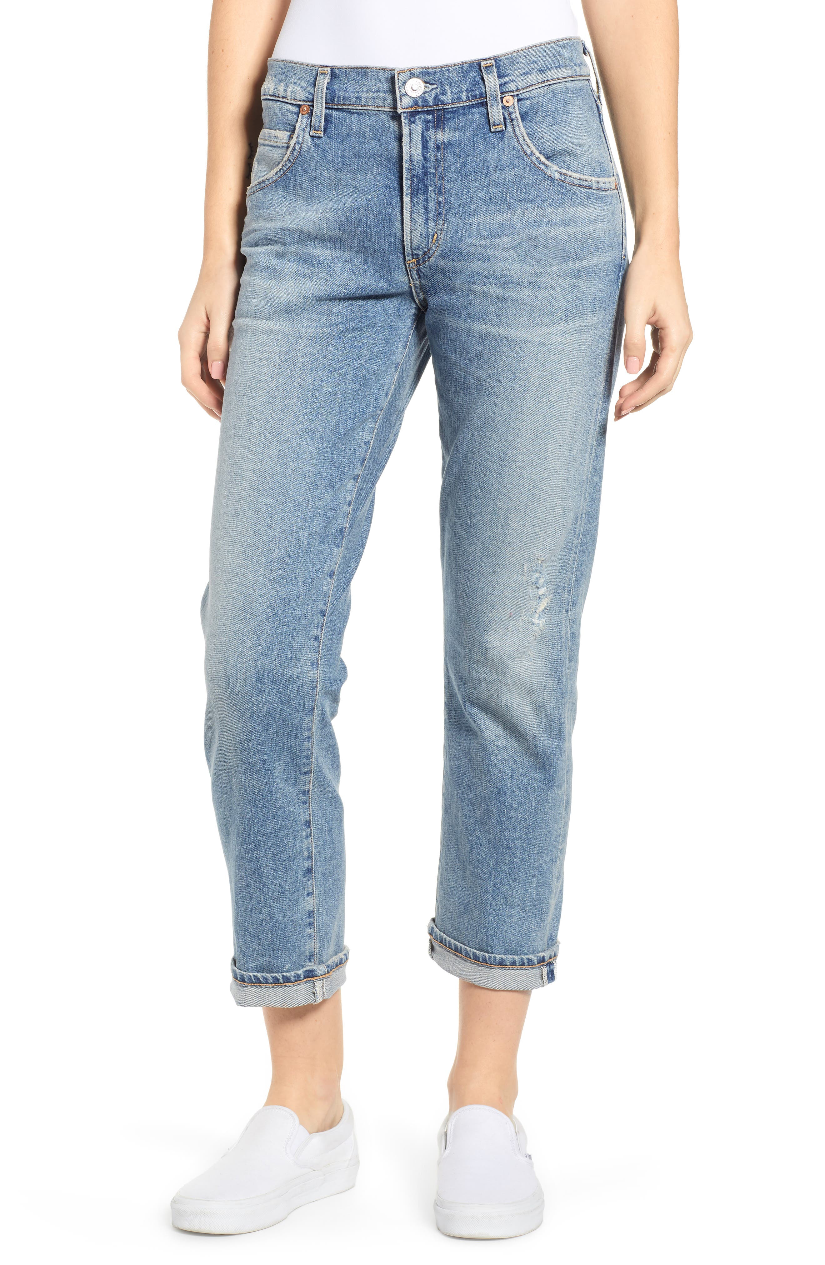 CITIZENS OF HUMANITY Emerson Crop Slim Fit Boyfriend Jeans, Main, color, MARINA
