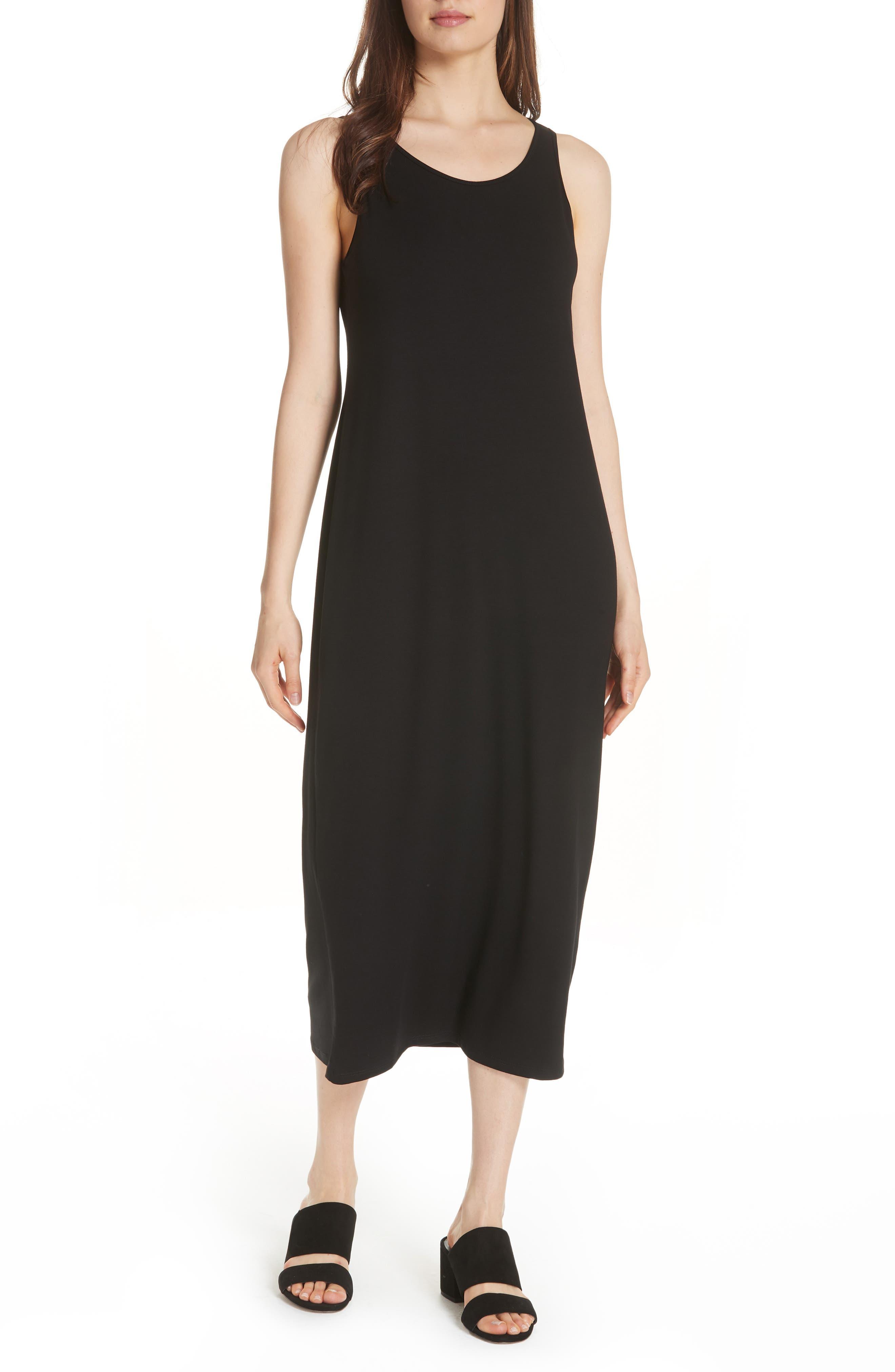EILEEN FISHER Midi Tank Dress, Main, color, BLACK