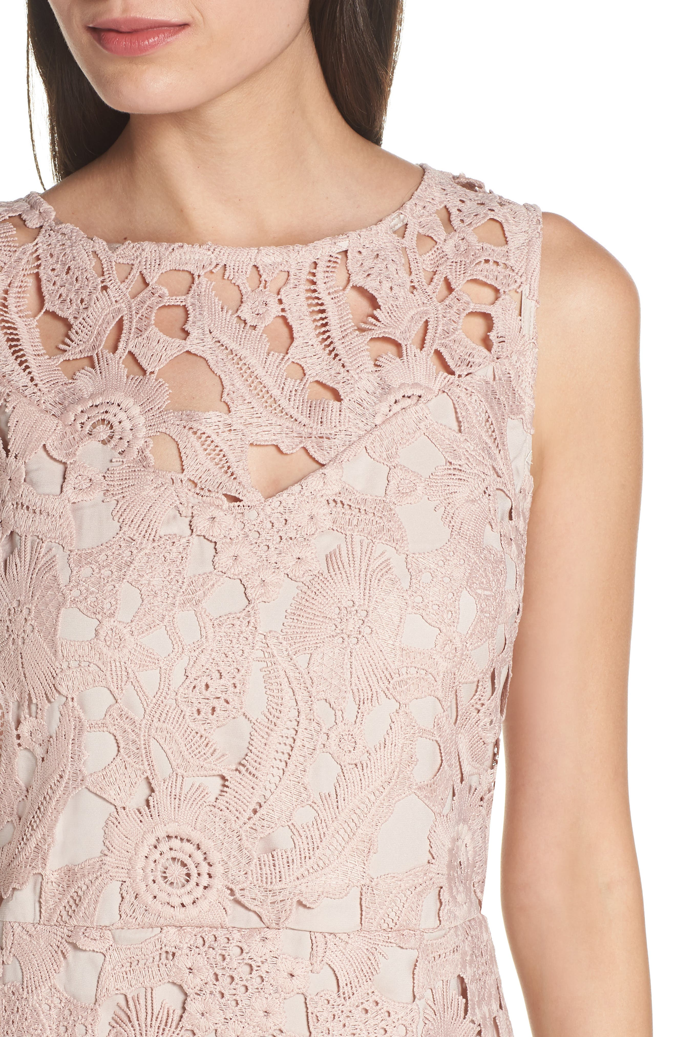 SAM EDELMAN, Lace Sheath Dress, Alternate thumbnail 5, color, BLUSH