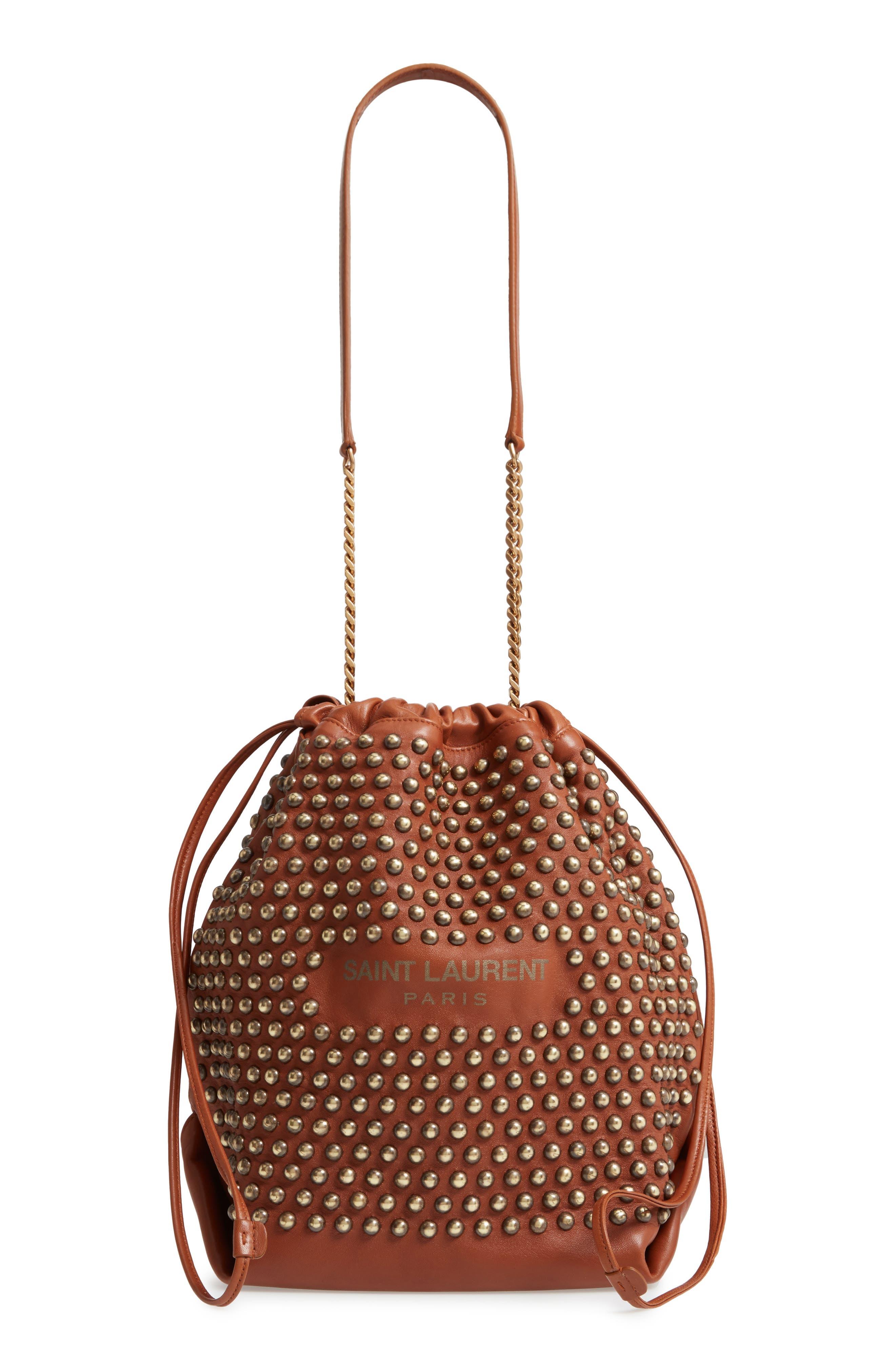 SAINT LAURENT, Teddy Studded Leather Bucket Bag, Main thumbnail 1, color, 200