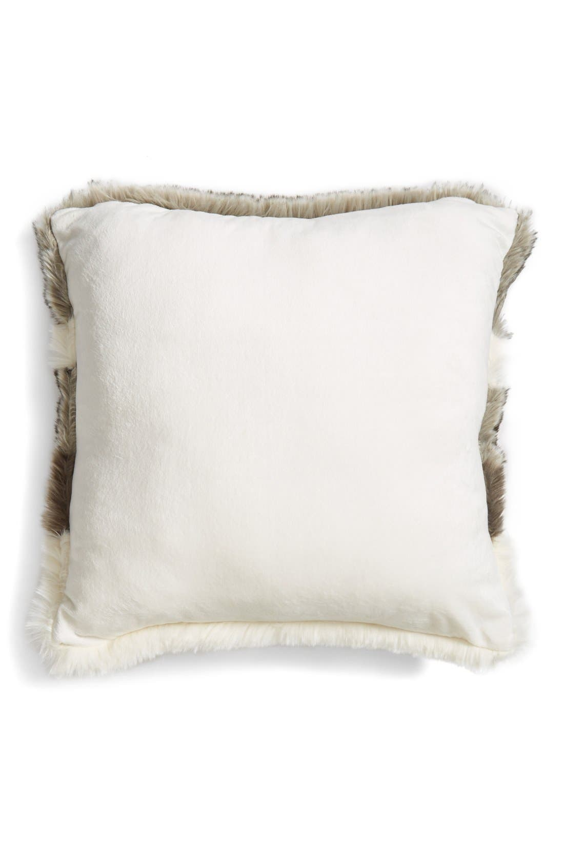 NORDSTROM AT HOME, Faux Fur Pillow, Alternate thumbnail 2, color, 900