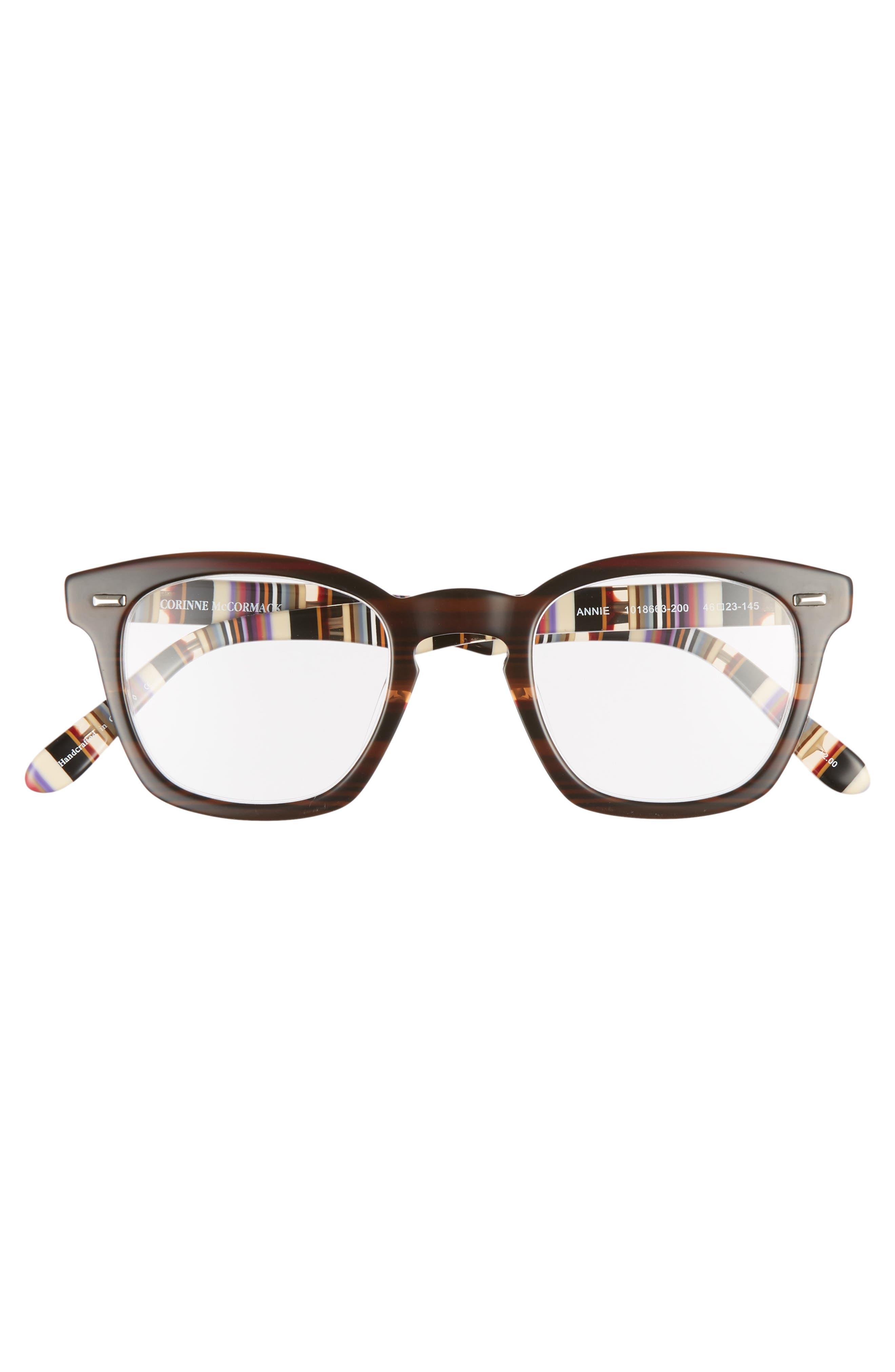 CORINNE MCCORMACK, 'Annie' 46mm Reading Glasses, Alternate thumbnail 3, color, BROWN/ STRIPE