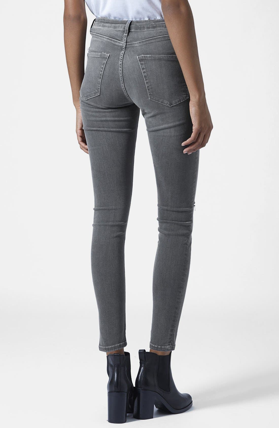 TOPSHOP, Moto 'Jamie' Ripped Skinny Jeans, Alternate thumbnail 2, color, 020