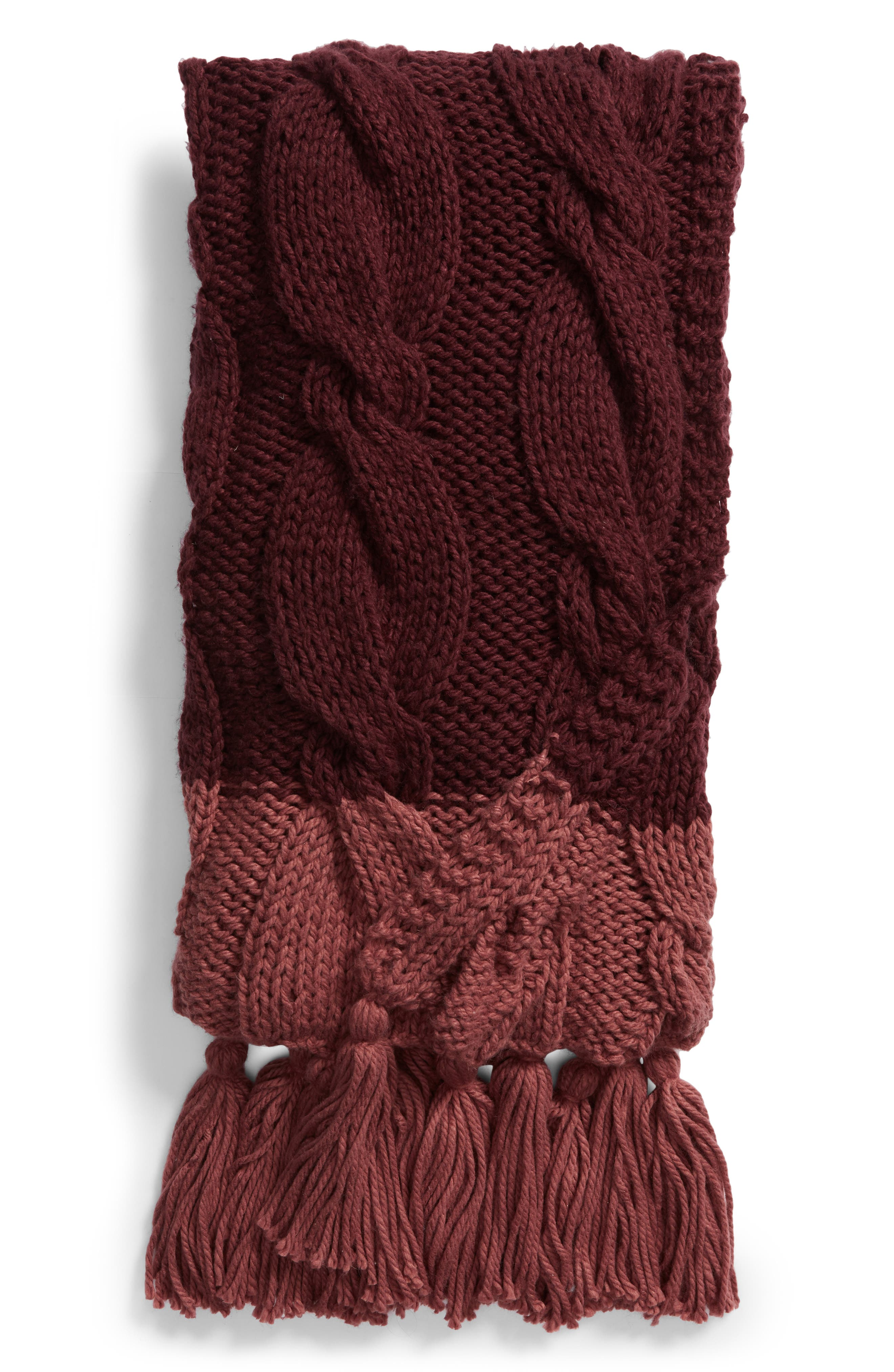 NORDSTROM AT HOME, Cable Knit Tassel Throw Blanket, Main thumbnail 1, color, BURGUNDY STEM