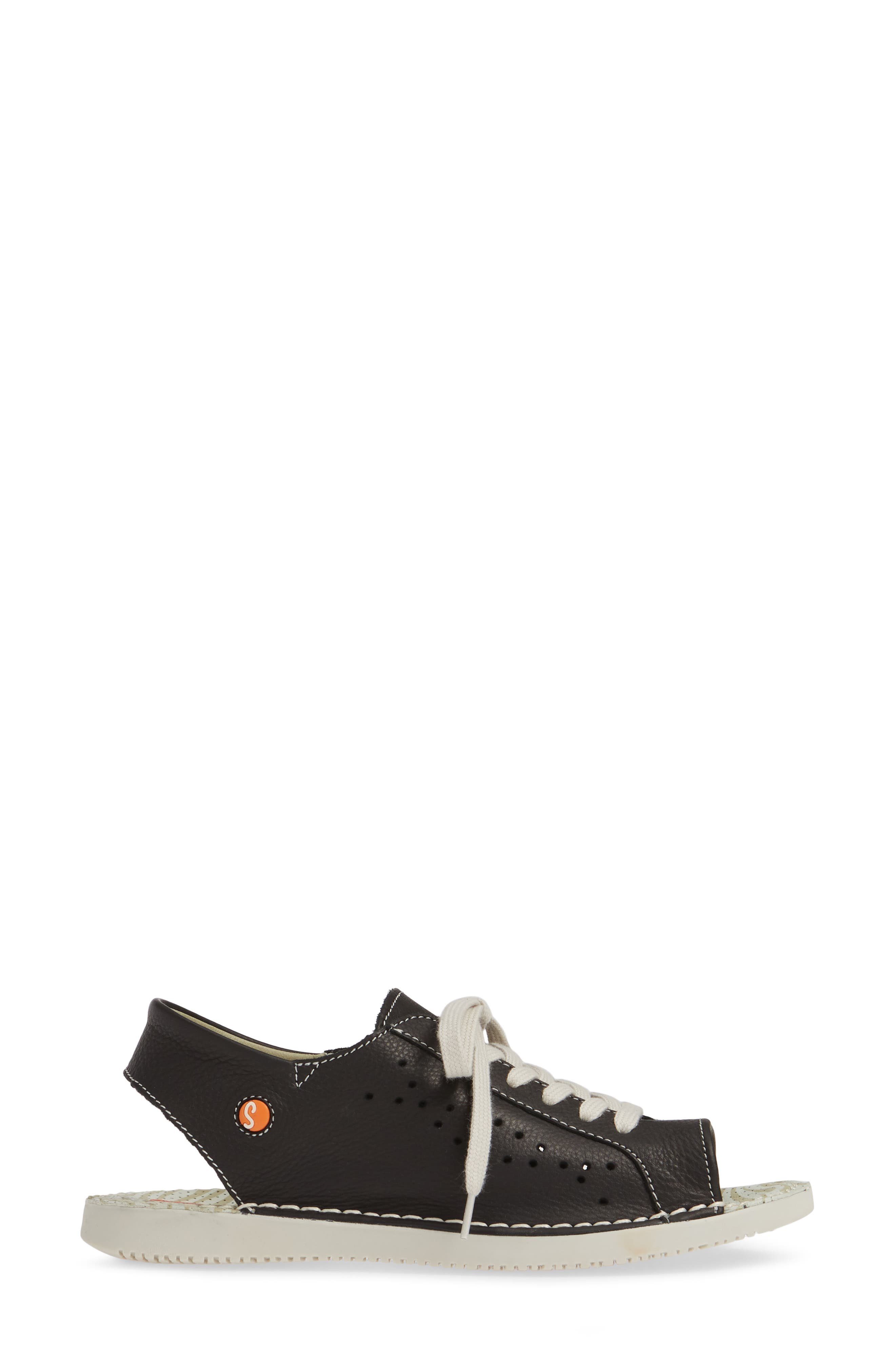 SOFTINOS BY FLY LONDON, Thi Slingback Sneaker Sandal, Alternate thumbnail 3, color, BLACK LEATHER