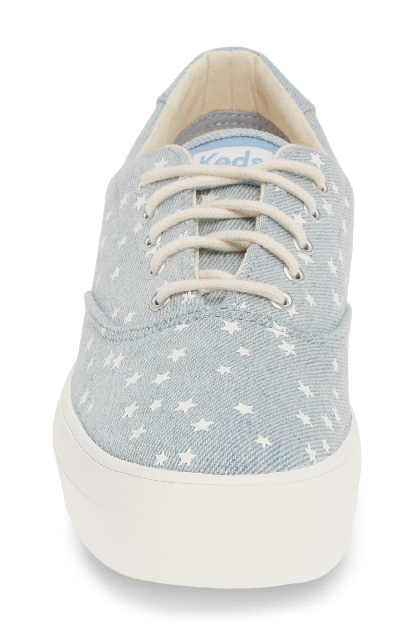 KEDS<SUP>®</SUP>, Rise Denim Star Sneaker, Alternate thumbnail 4, color, LIGHT BLUE