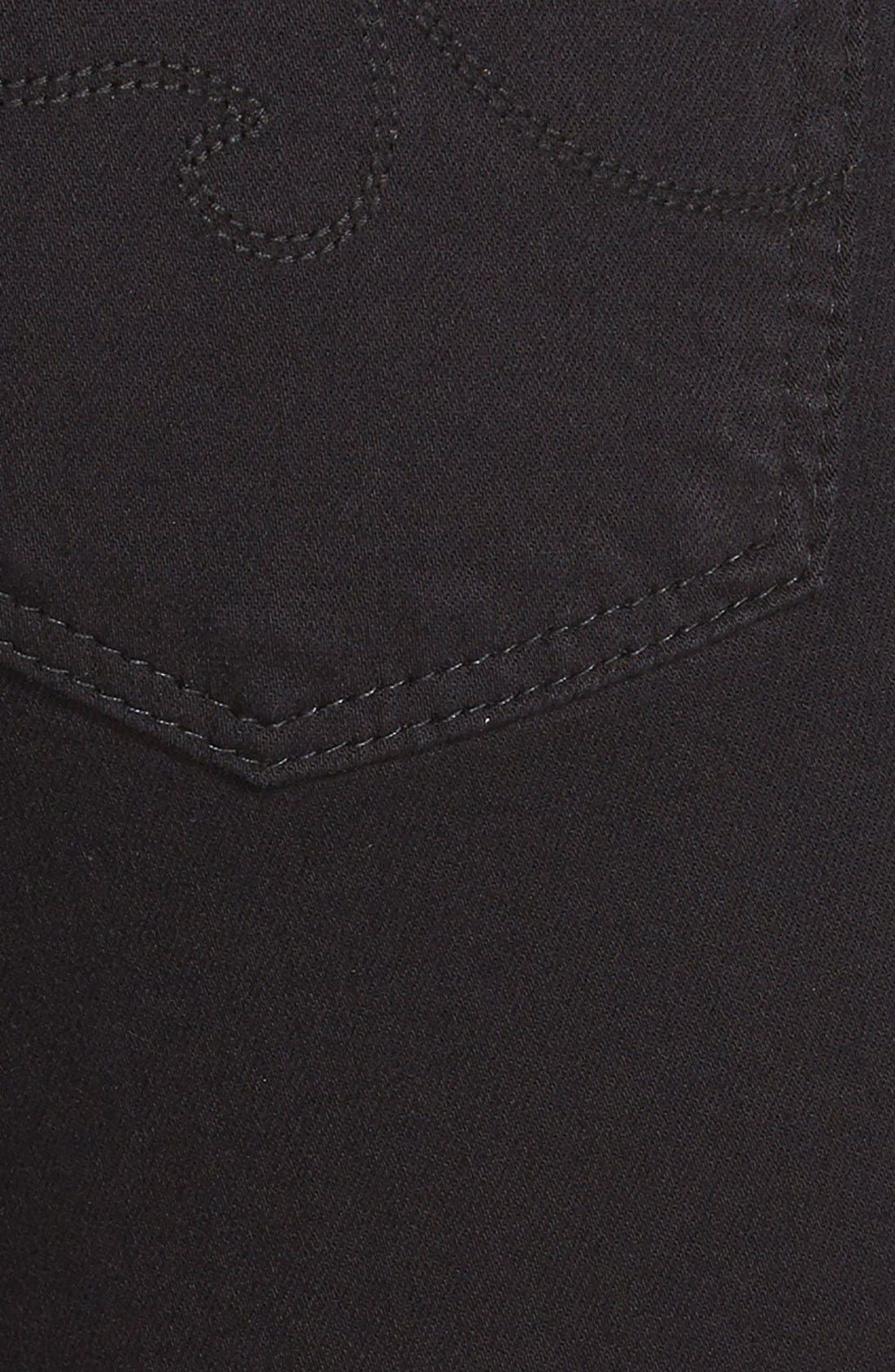 AG, 'Prima' Mid Rise Cigarette Jeans, Alternate thumbnail 3, color, SUPER BLACK