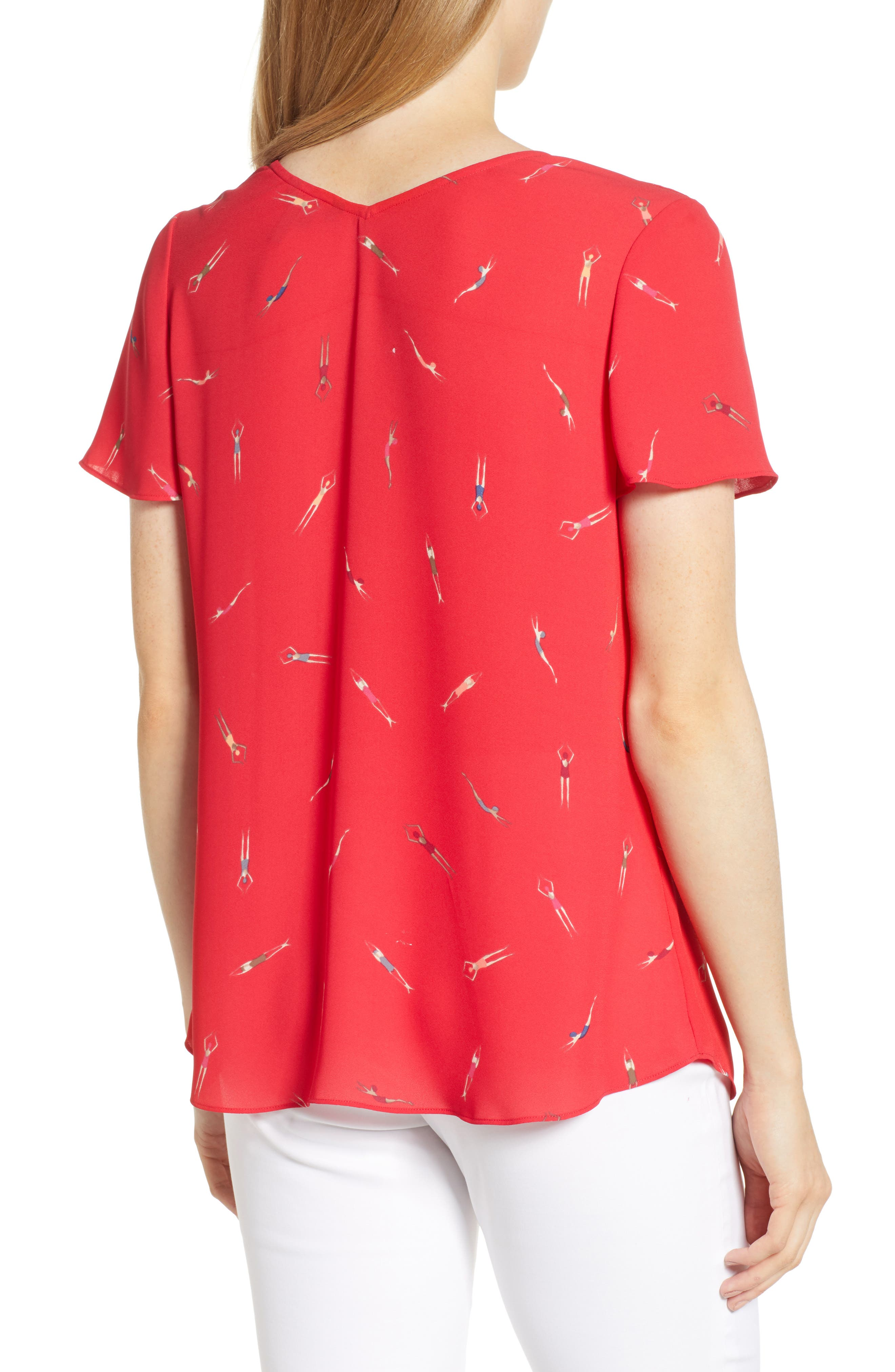 NIC+ZOE, Bathing Beauties Top, Alternate thumbnail 2, color, COSMO RED