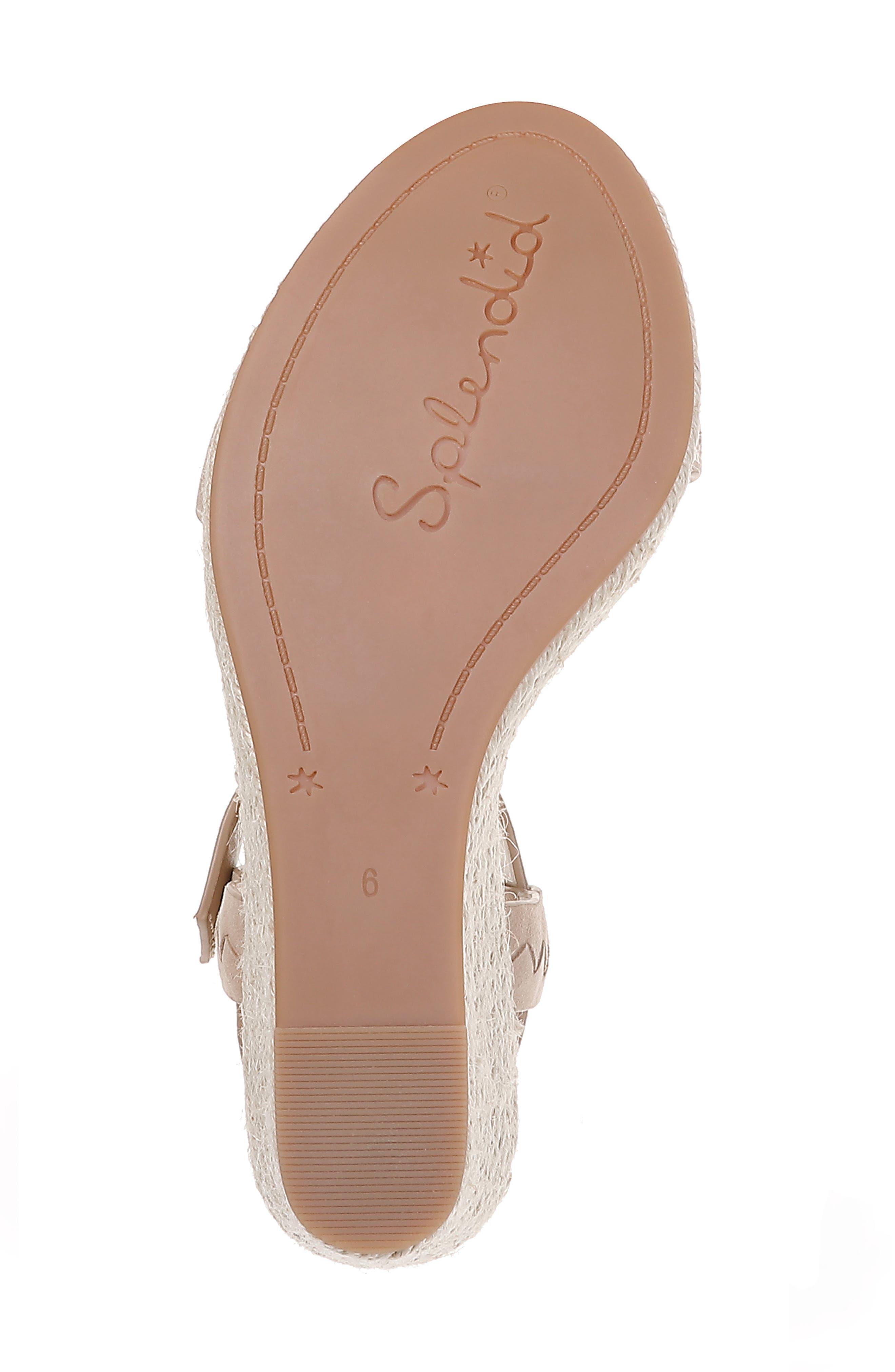 SPLENDID, Shayla Woven Wedge Sandal, Alternate thumbnail 6, color, WOOD SUEDE