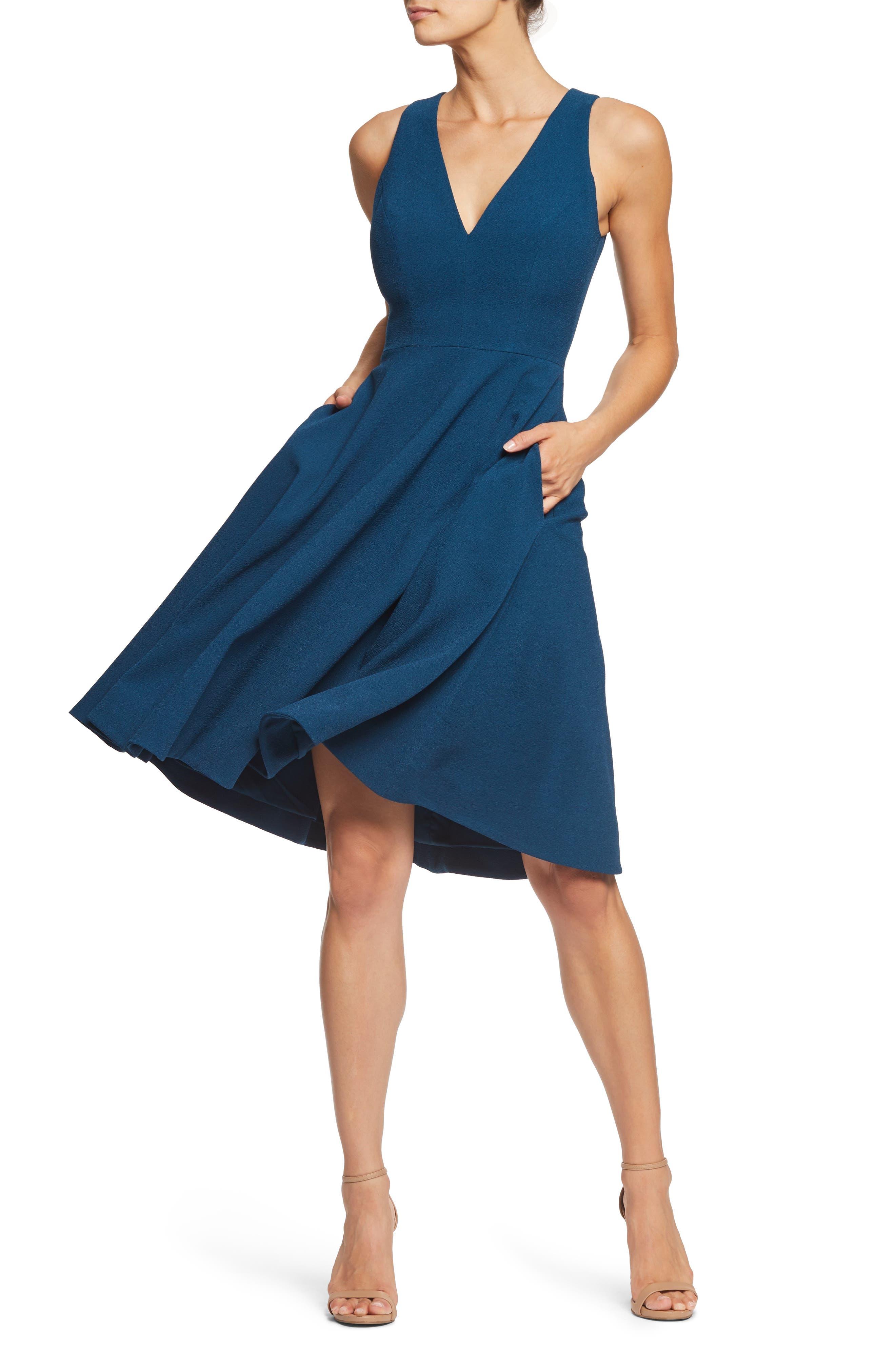 Dress The Population Catalina Tea Length Fit & Flare Dress, Blue