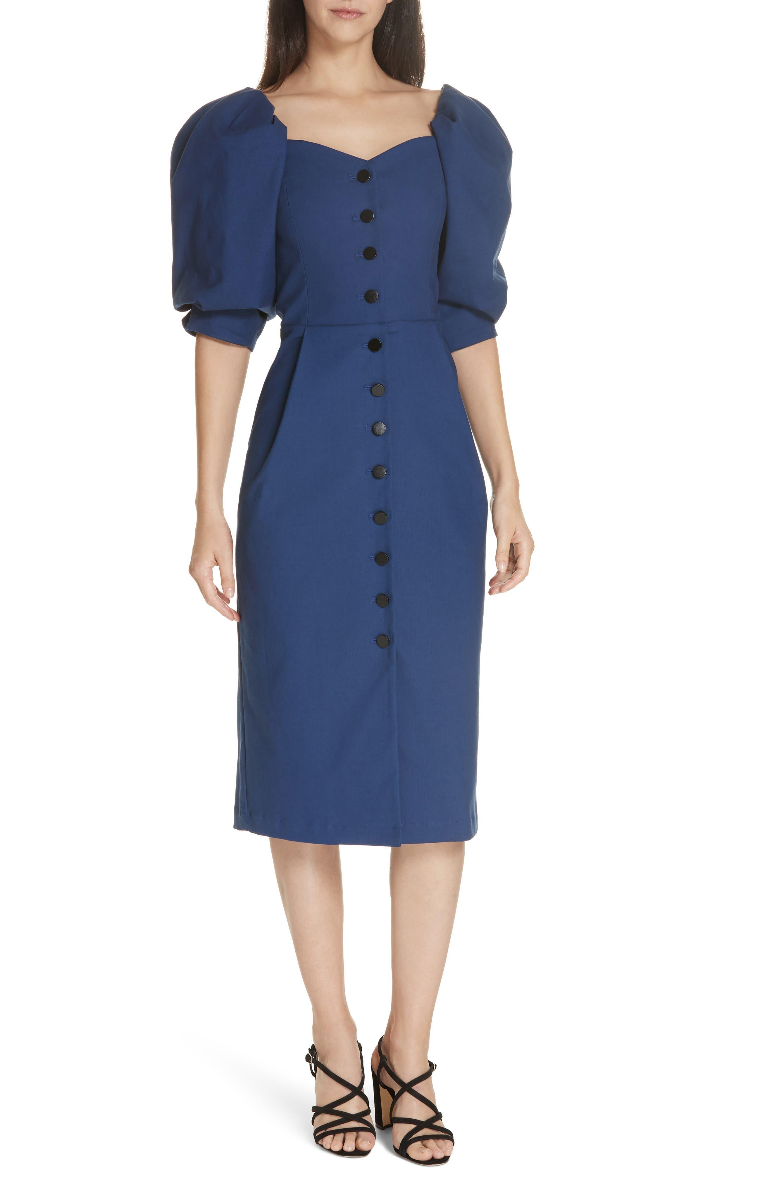 Sea Lennox Puff Sleeve Pencil Dress, Blue