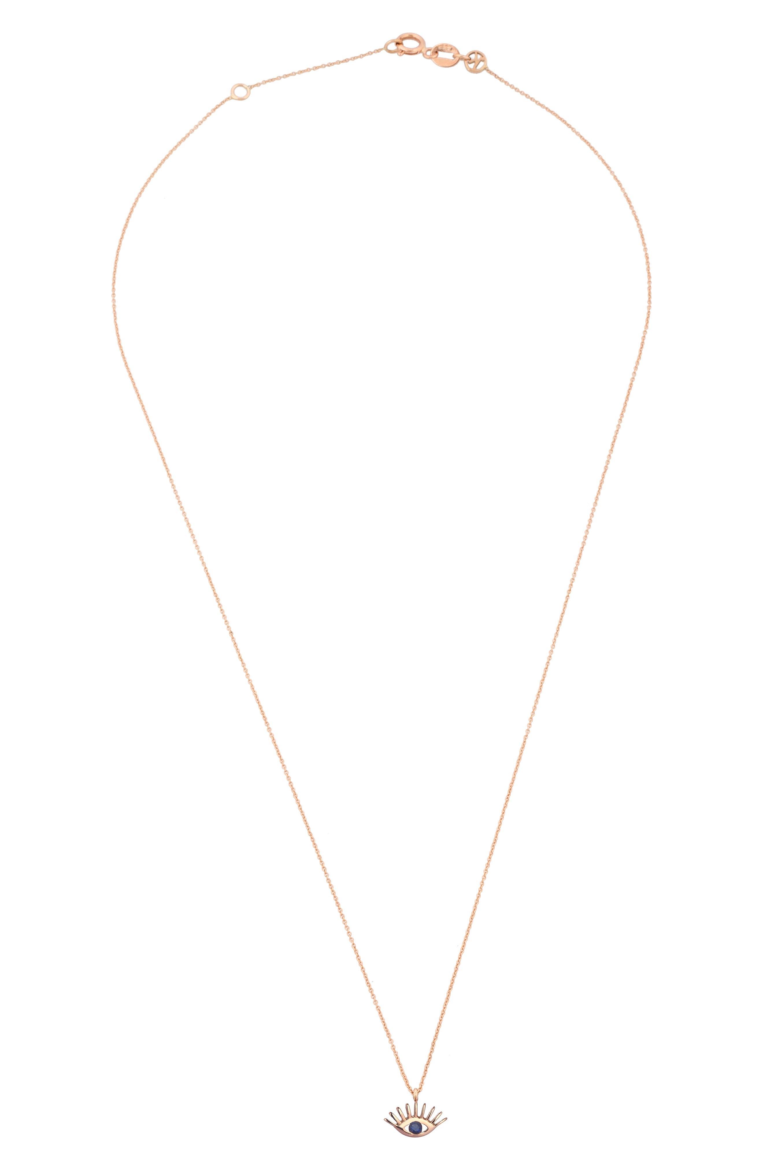 KISMET BY MILKA, Sapphire Pendant Necklace, Alternate thumbnail 2, color, ROSE GOLD