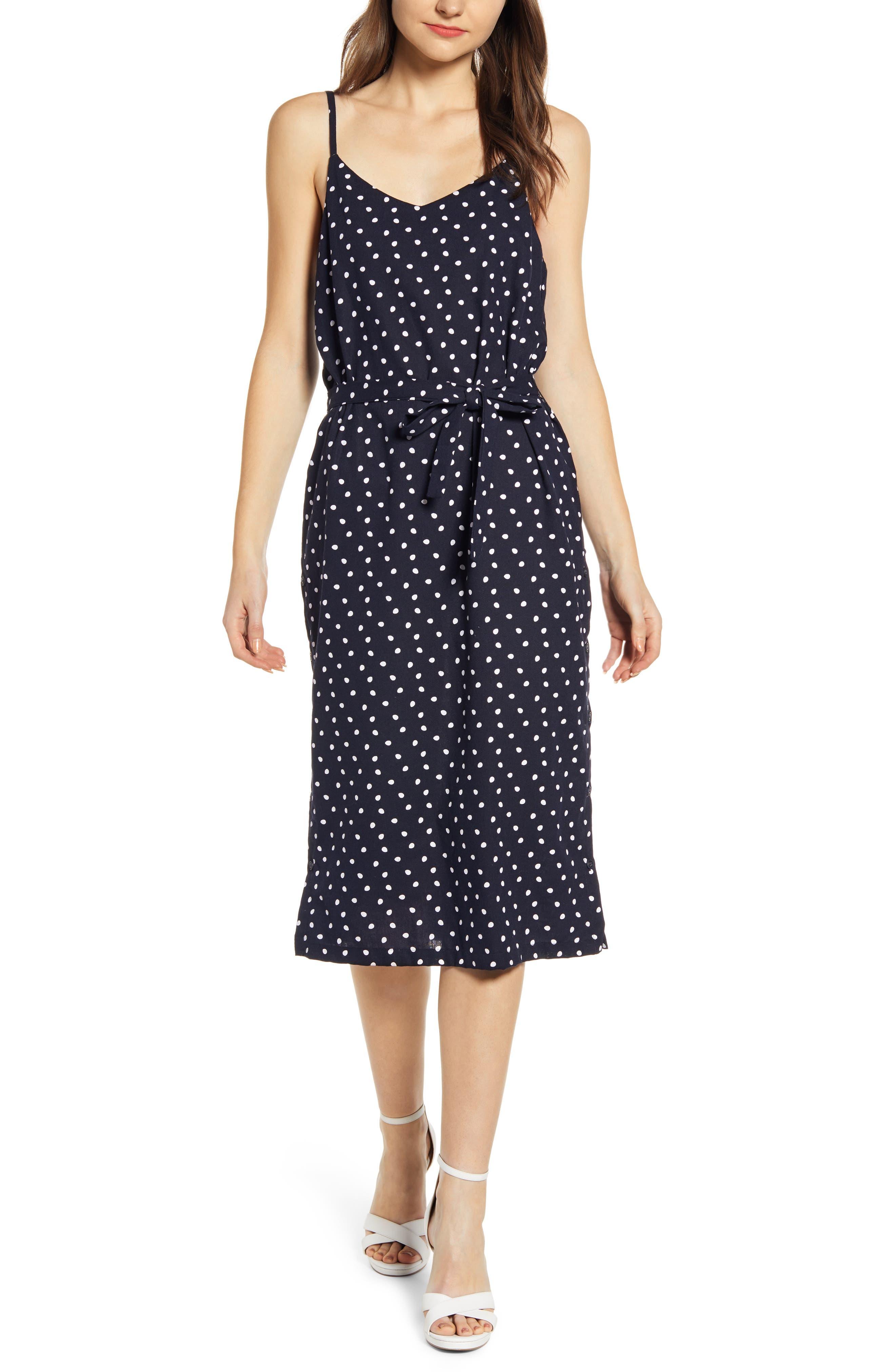 Minkpink Pip Polka Dot Belted Midi Dress, Blue