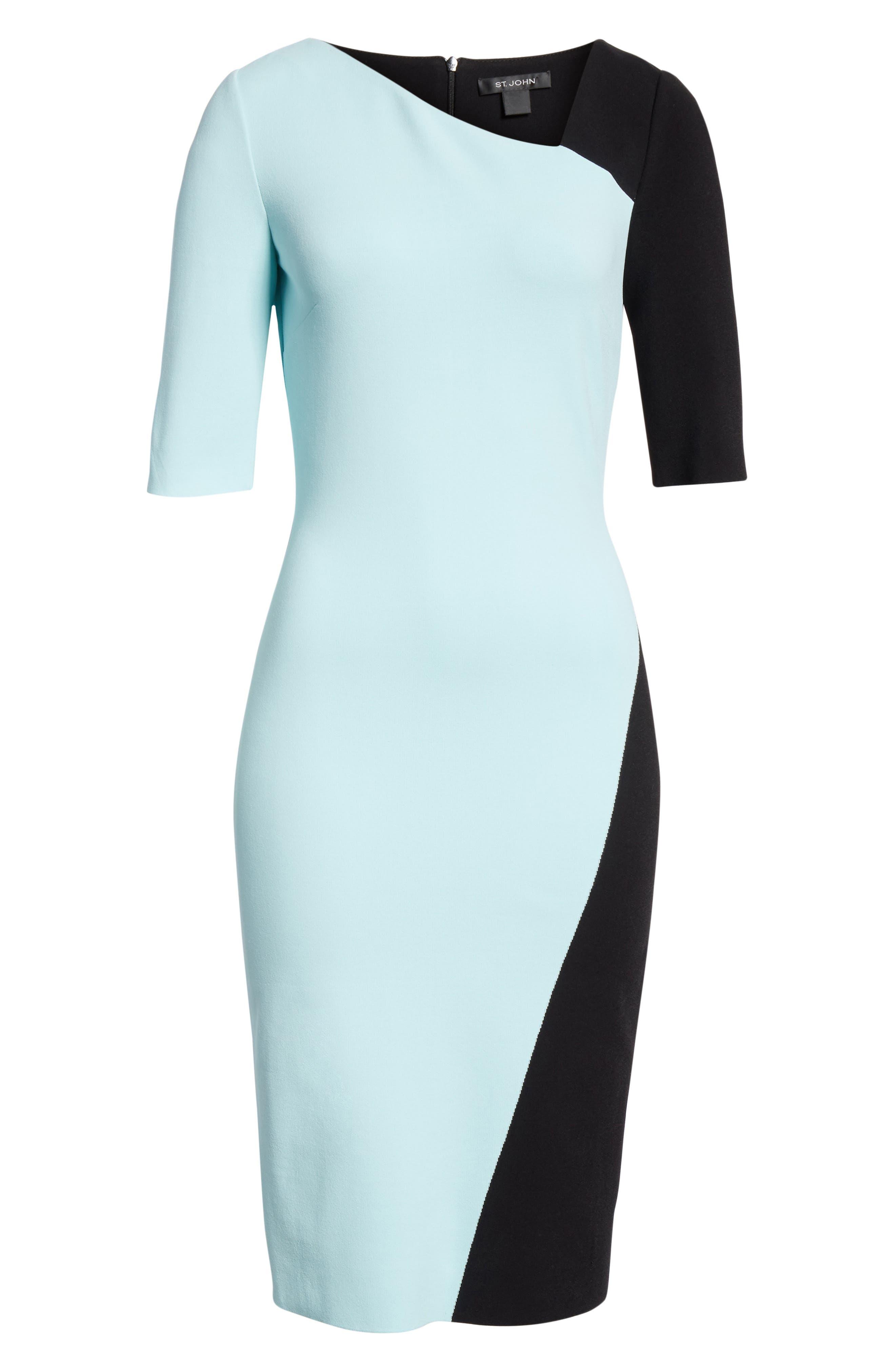 ST. JOHN COLLECTION, Luxe Sculpture Knit Dress, Alternate thumbnail 7, color, SEAFOAM/ CAVIAR