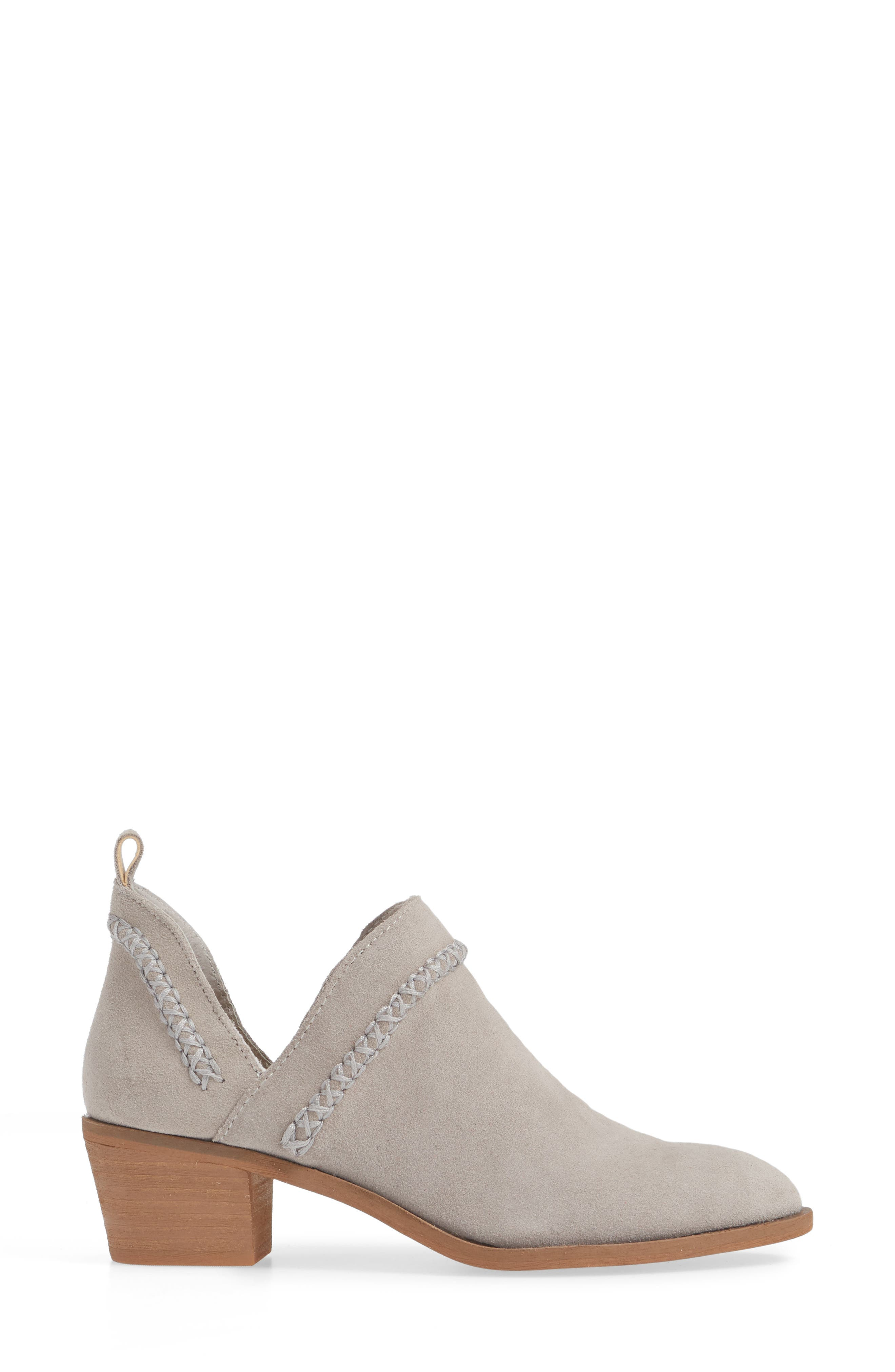 SOLE SOCIETY, Nikkie Bootie, Alternate thumbnail 3, color, SOFT GREY SUEDE