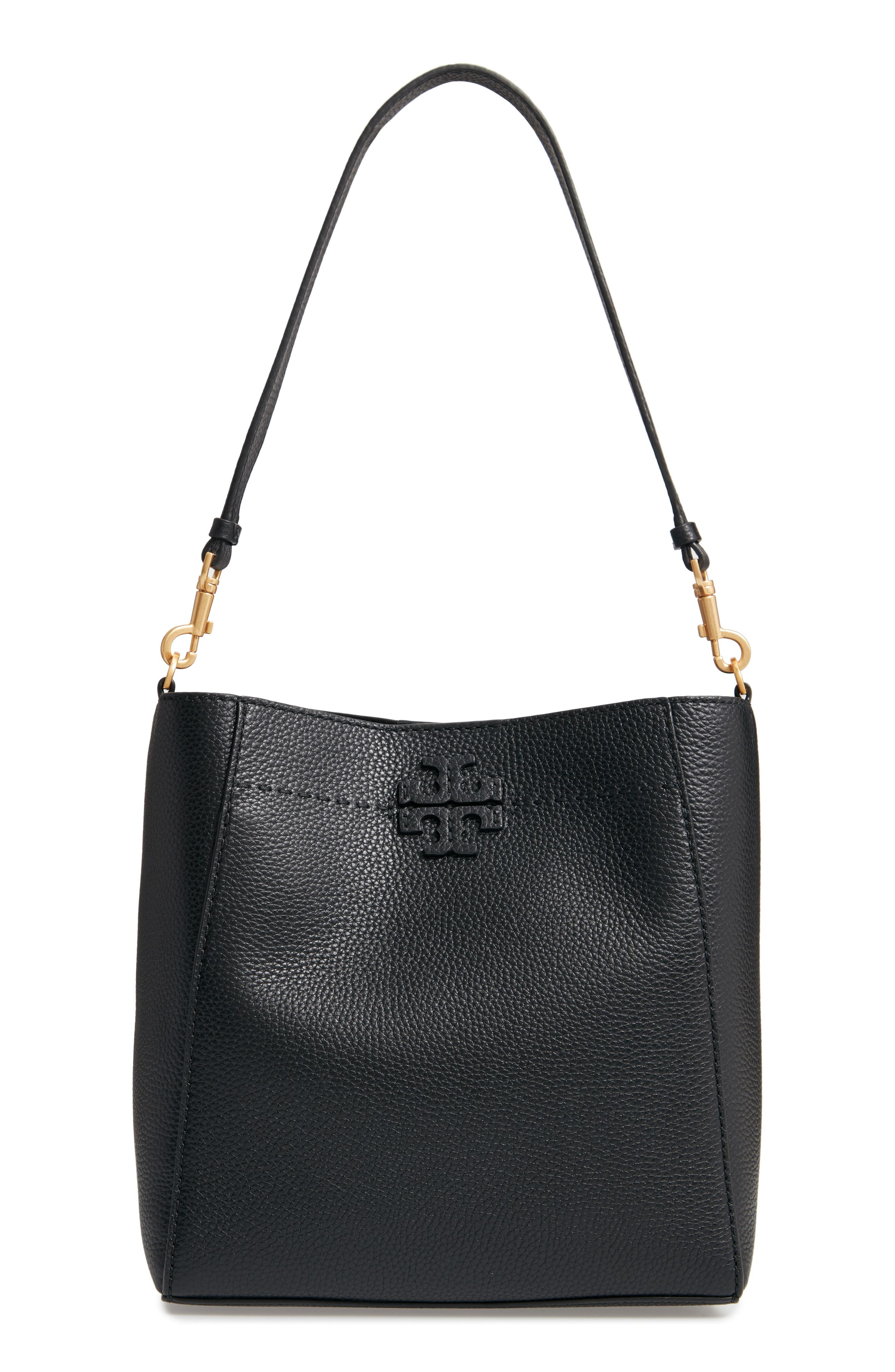 TORY BURCH, McGraw Leather Hobo, Main thumbnail 1, color, BLACK