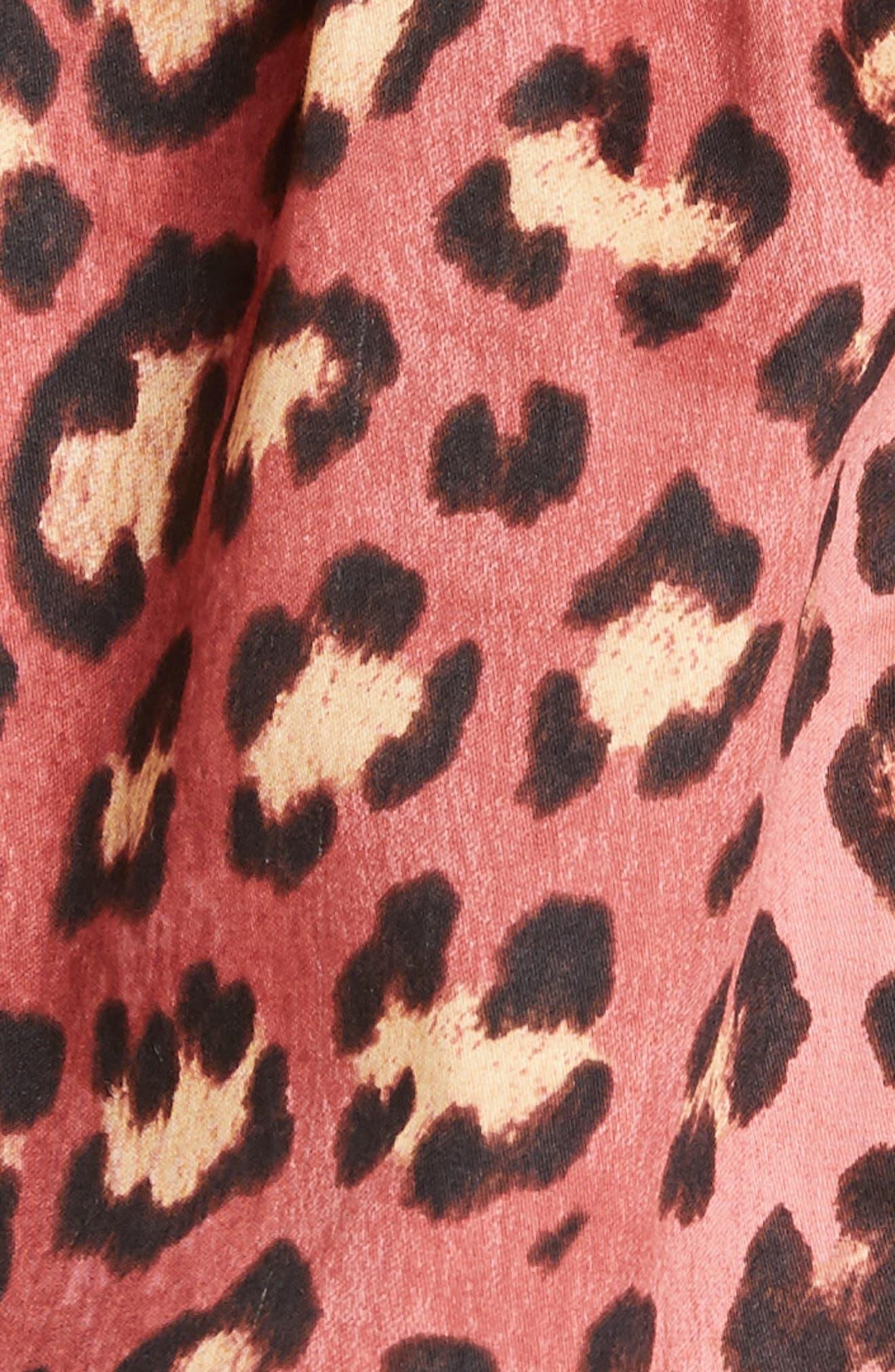 REBECCA TAYLOR, Bow Detail Leopard Print Cold Shoulder Cotton Blouse, Alternate thumbnail 5, color, HENNA