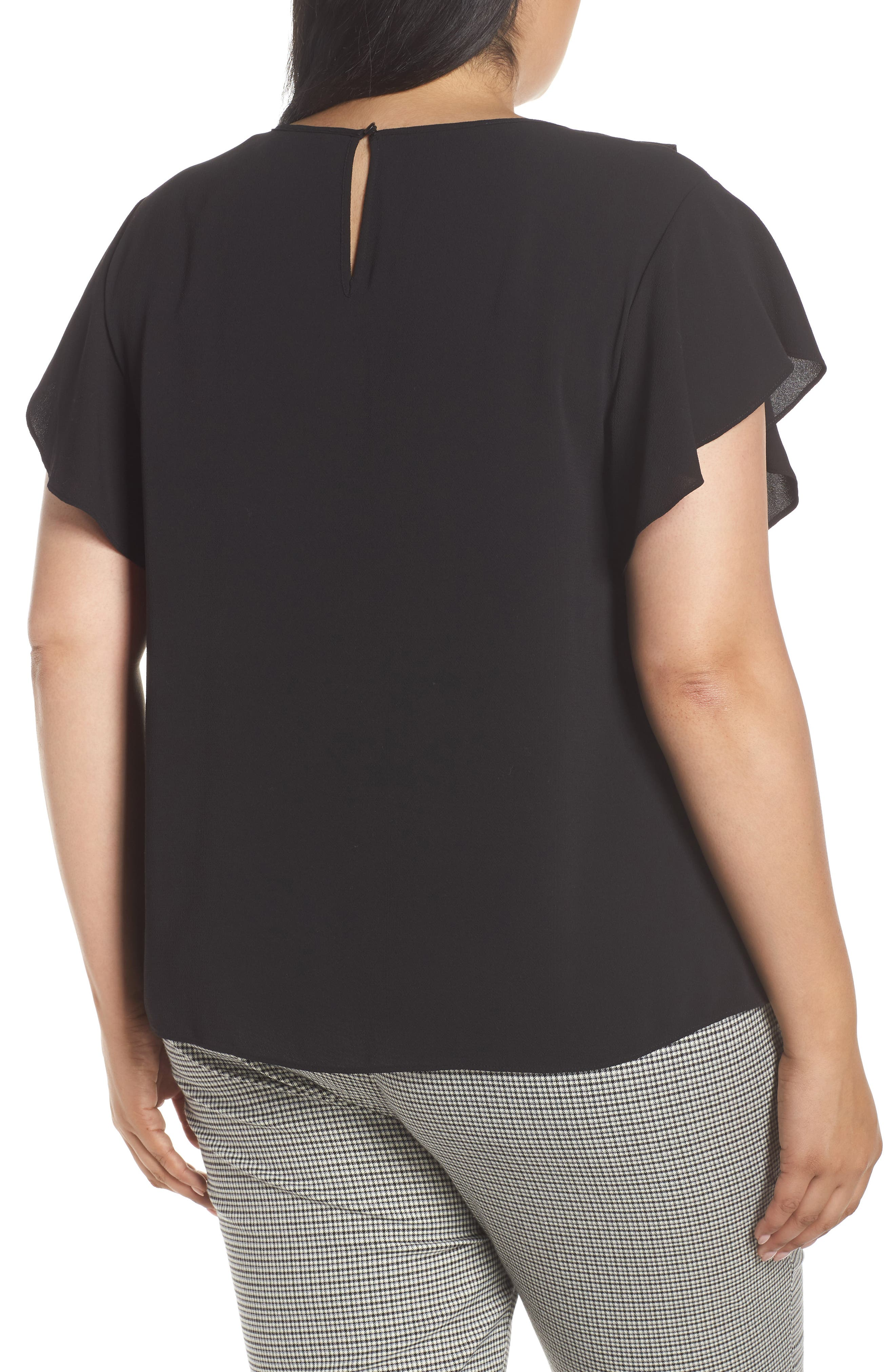 VINCE CAMUTO, Ruffle Flutter Sleeve Top, Alternate thumbnail 2, color, RICH BLACK
