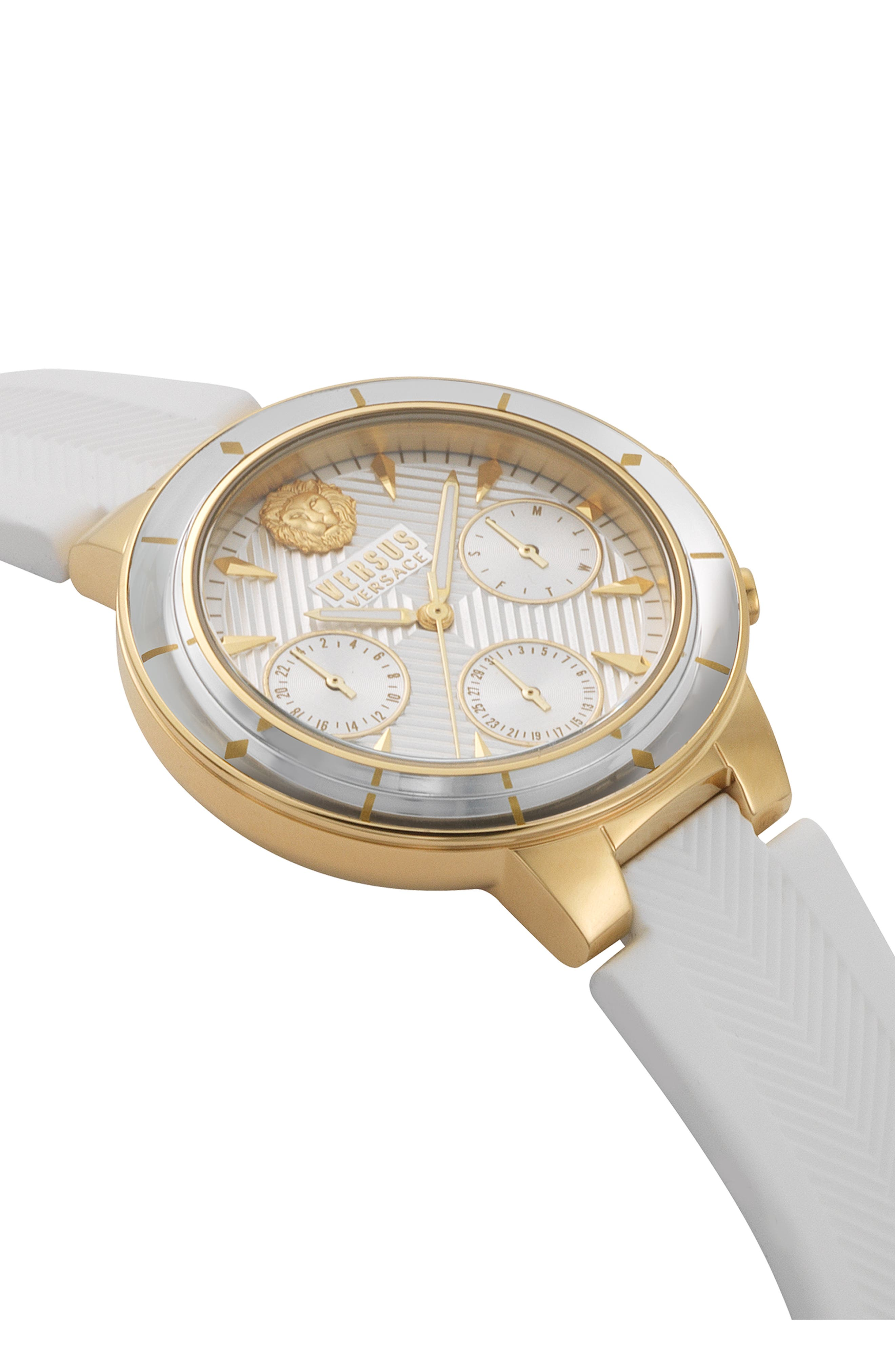 VERSUS VERSACE, Harbour Heights Silicone Strap Watch, 38mm, Alternate thumbnail 3, color, WHITE/ GOLD