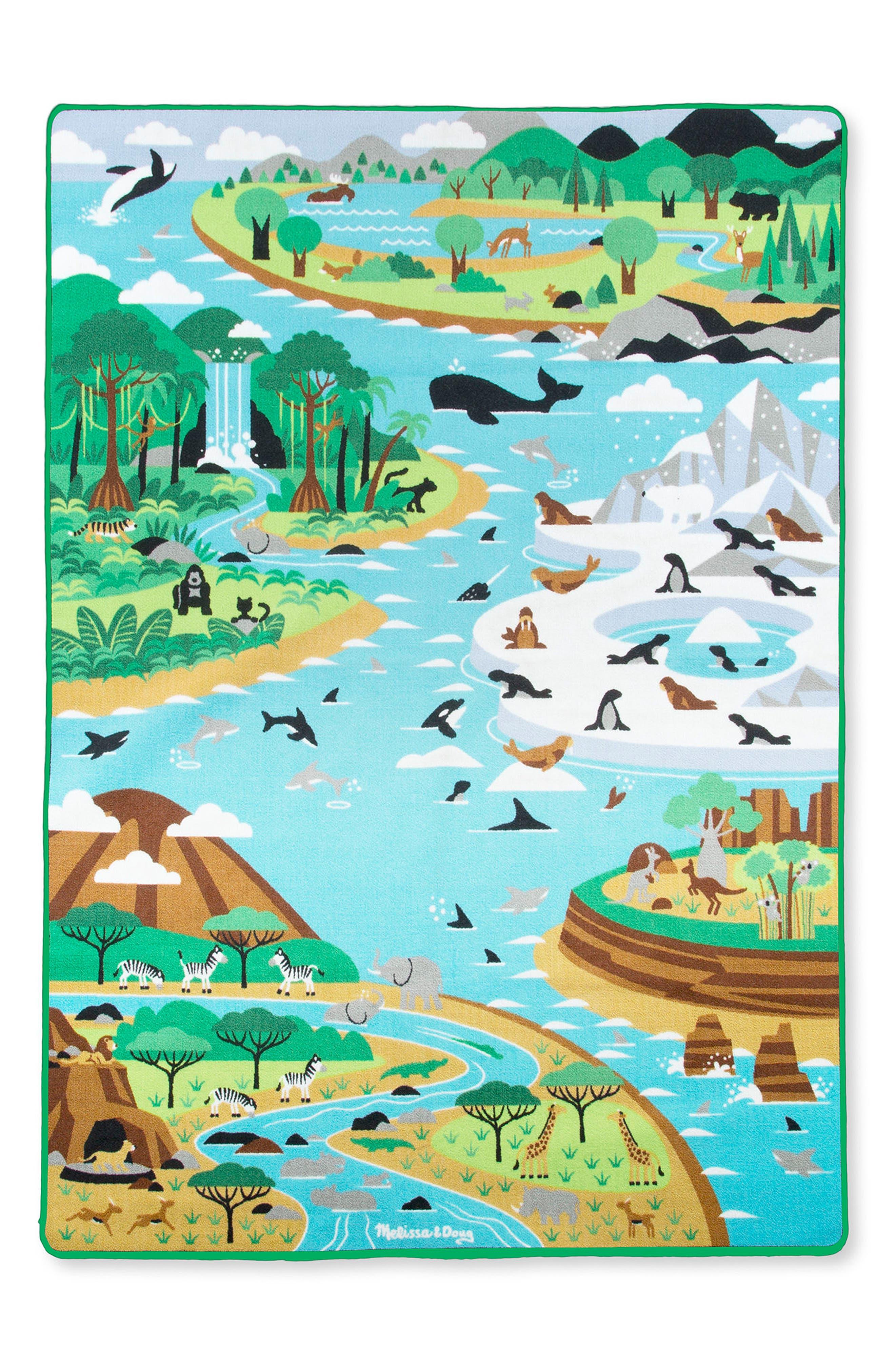 MELISSA & DOUG 6-Piece Jumbo Habitats Activity Rug, Main, color, BLUE MULTI