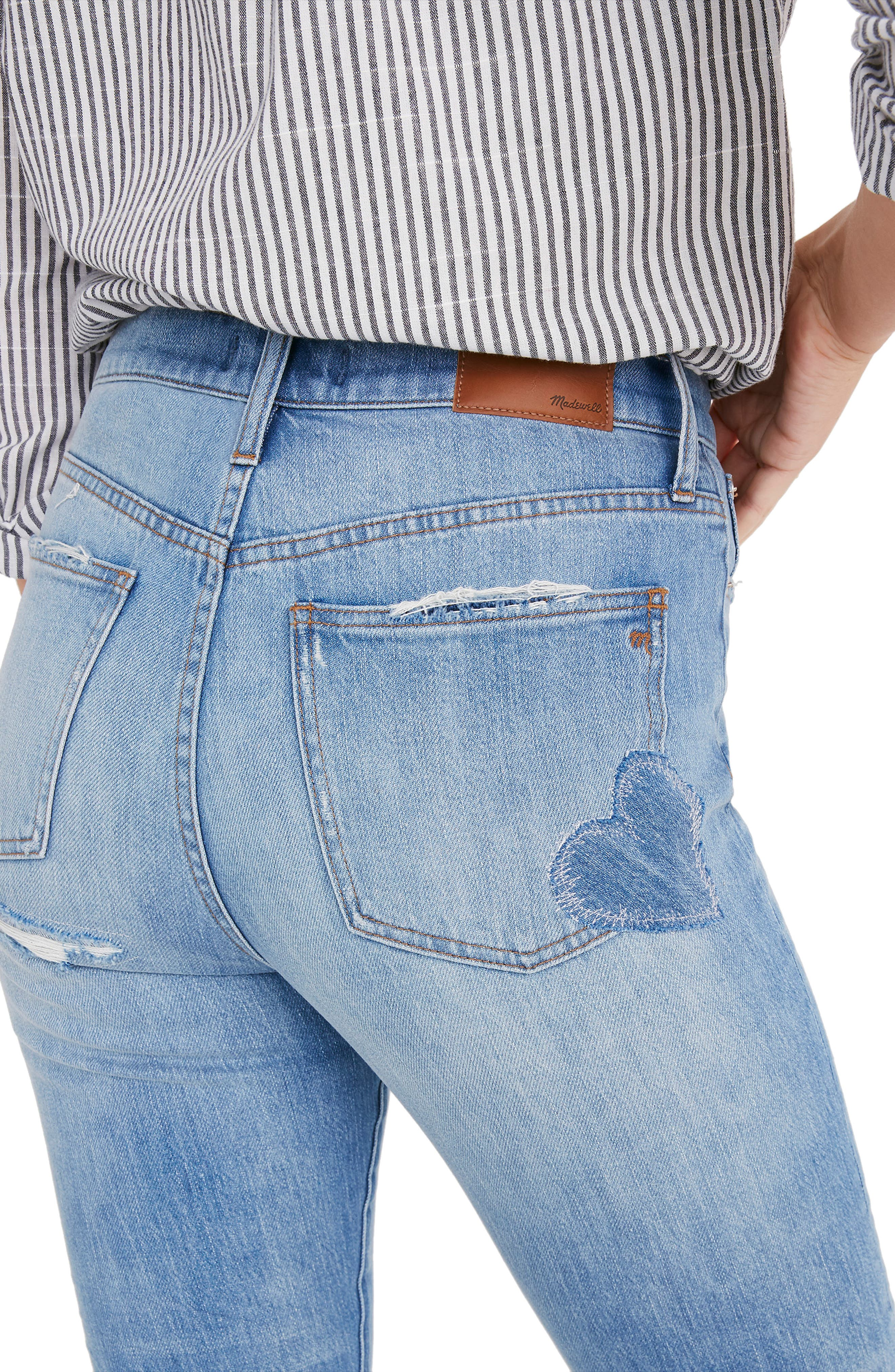 MADEWELL, The Perfect Vintage Heart Patch High Waist Jeans, Alternate thumbnail 5, color, ATWATER WASH