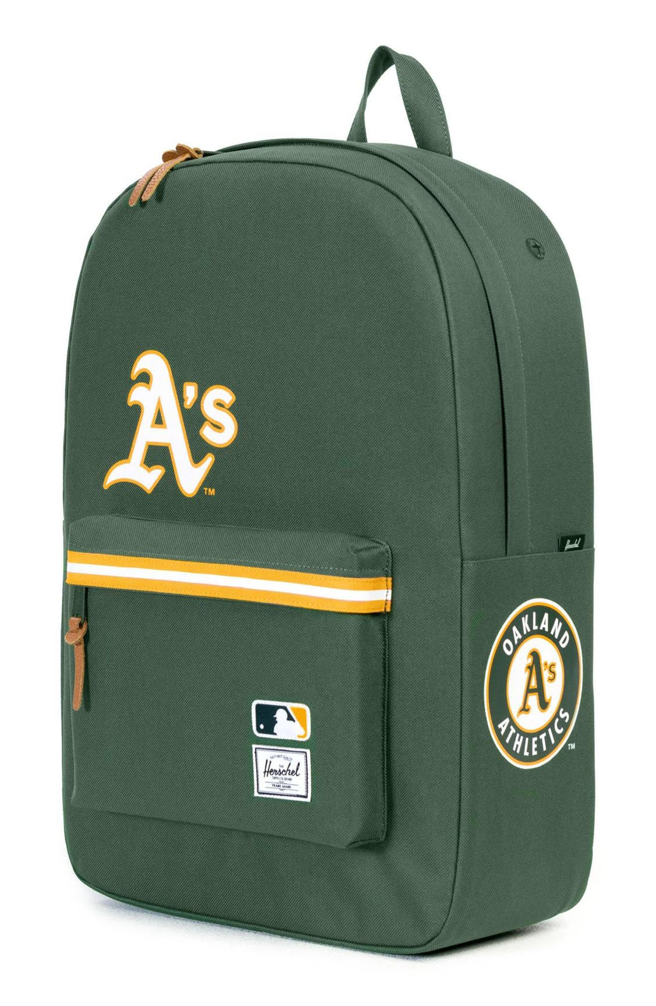 HERSCHEL SUPPLY CO., Heritage - MLB American League Backpack, Alternate thumbnail 4, color, OAKLAND A