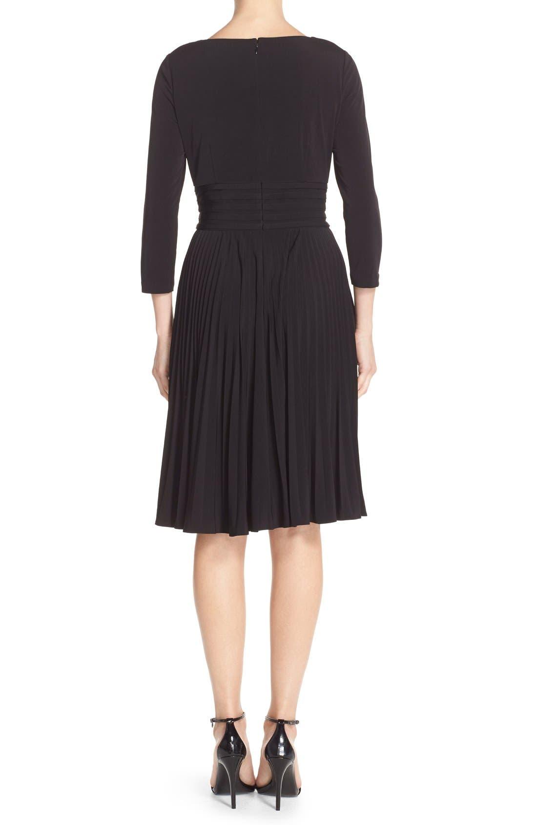 ELIZA J, Pleated Jersey Fit & Flare Dress, Alternate thumbnail 2, color, 001