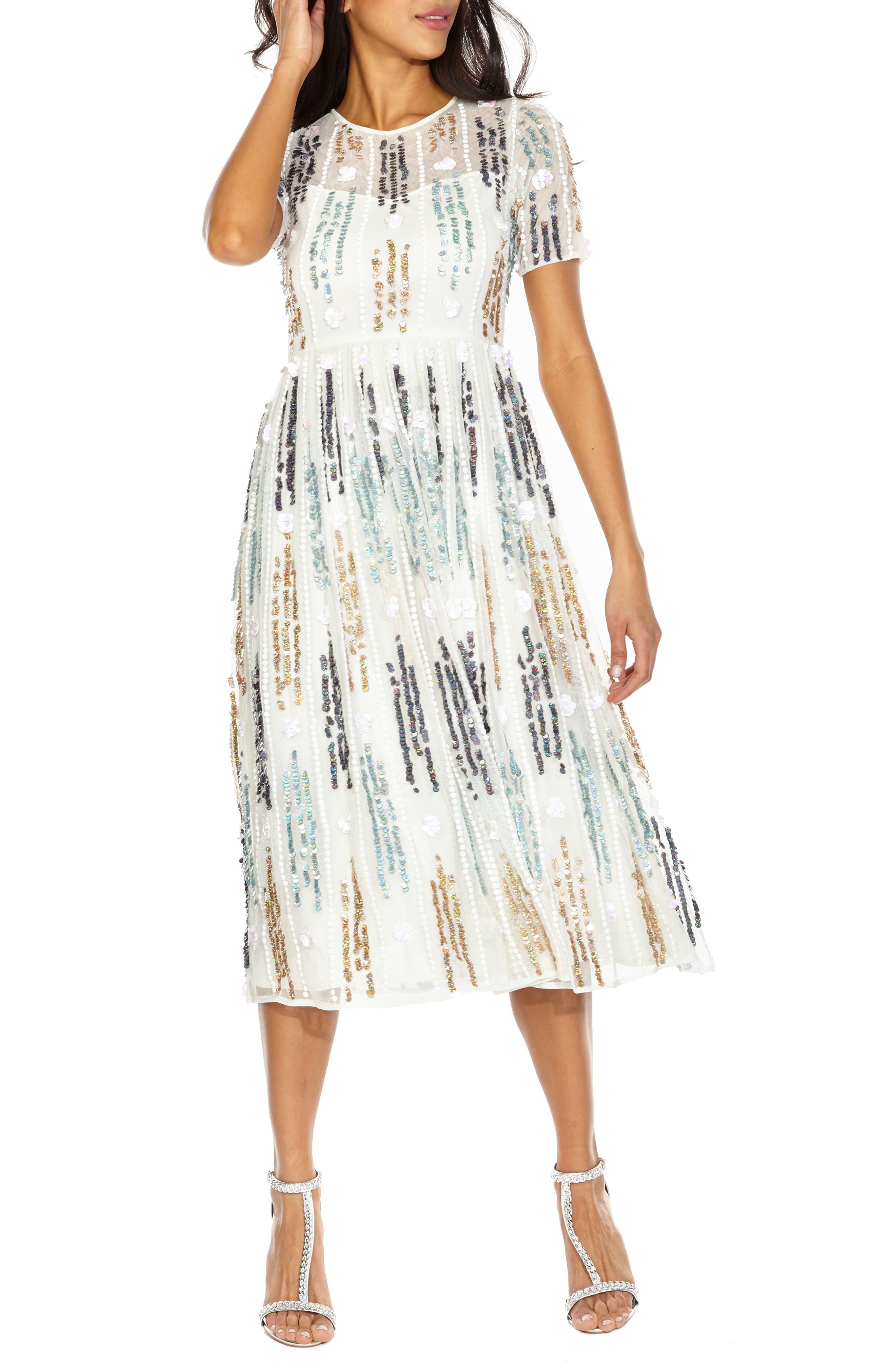 LACE & BEADS Crichet Sequin Midi Dress, Main, color, 100