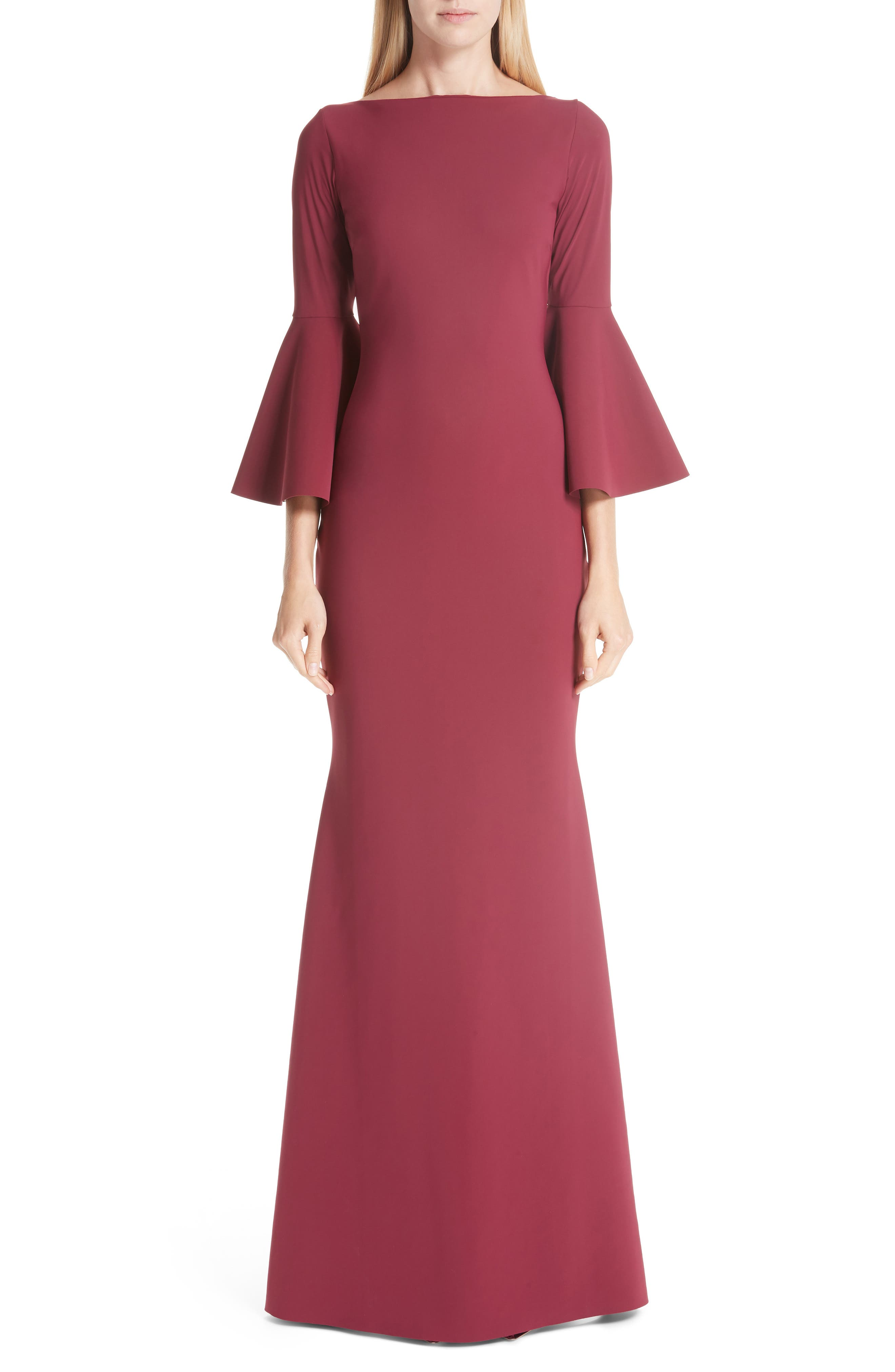 Chiara Boni La Petite Robe Iva Bell Sleeve Evening Dress, US / 40 IT - Red