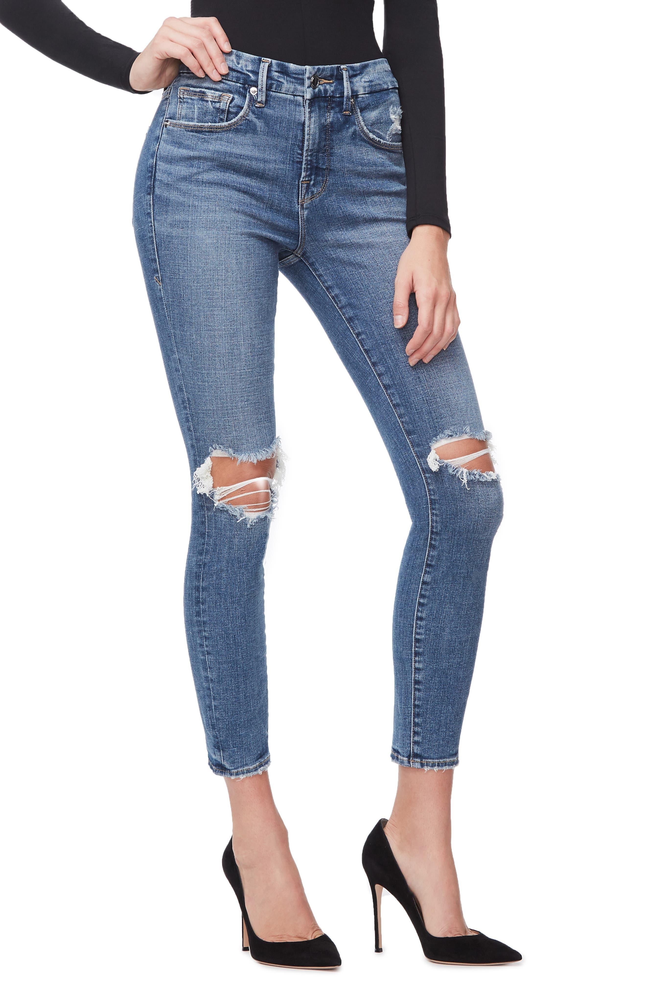 GOOD AMERICAN, Good Legs High Waist Crop Skinny Jeans, Alternate thumbnail 5, color, BLUE 261