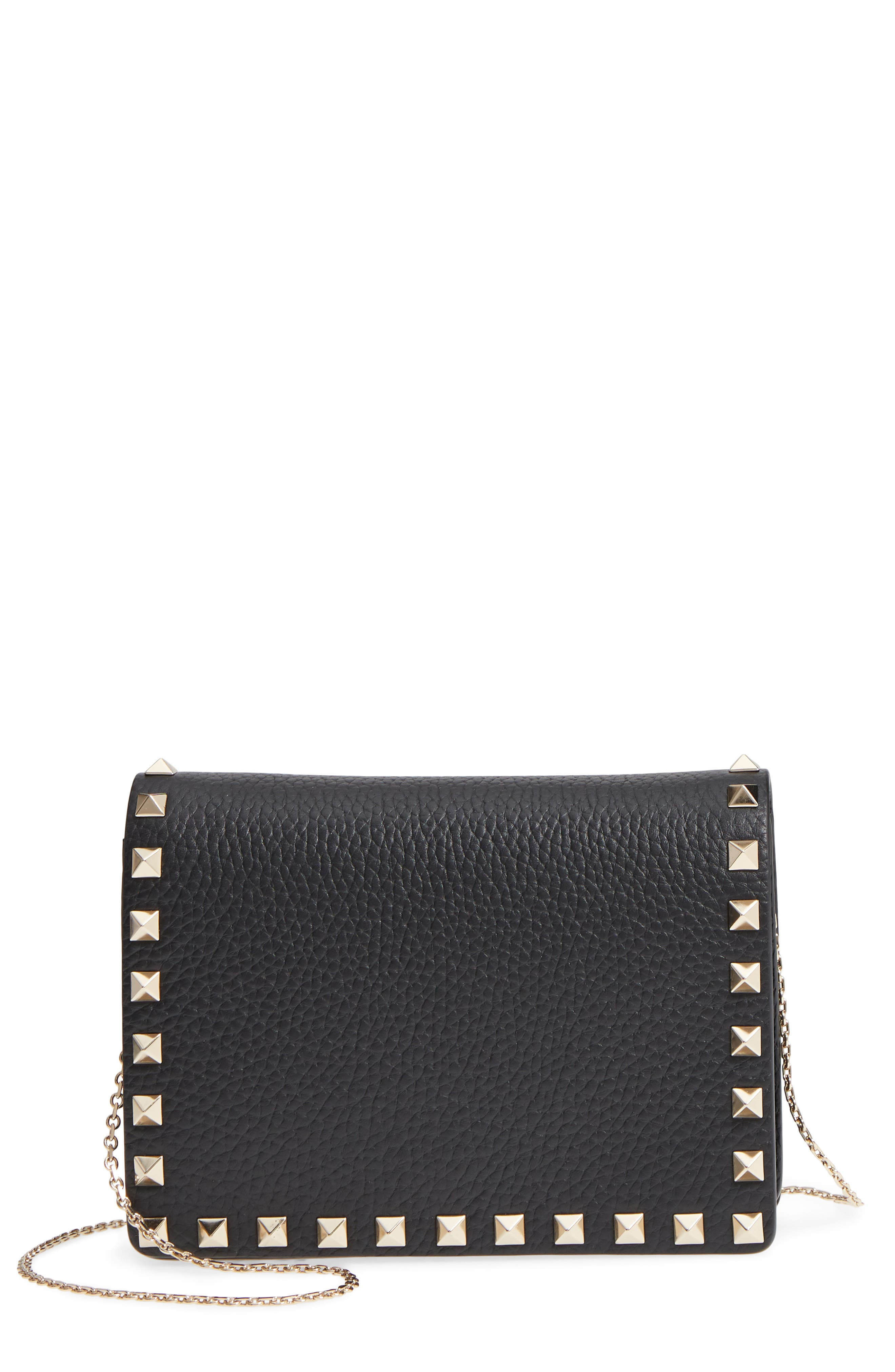 VALENTINO GARAVANI, Rockstud Leather Pouch Wallet on a Chain, Main thumbnail 1, color, NERO/ GOLD