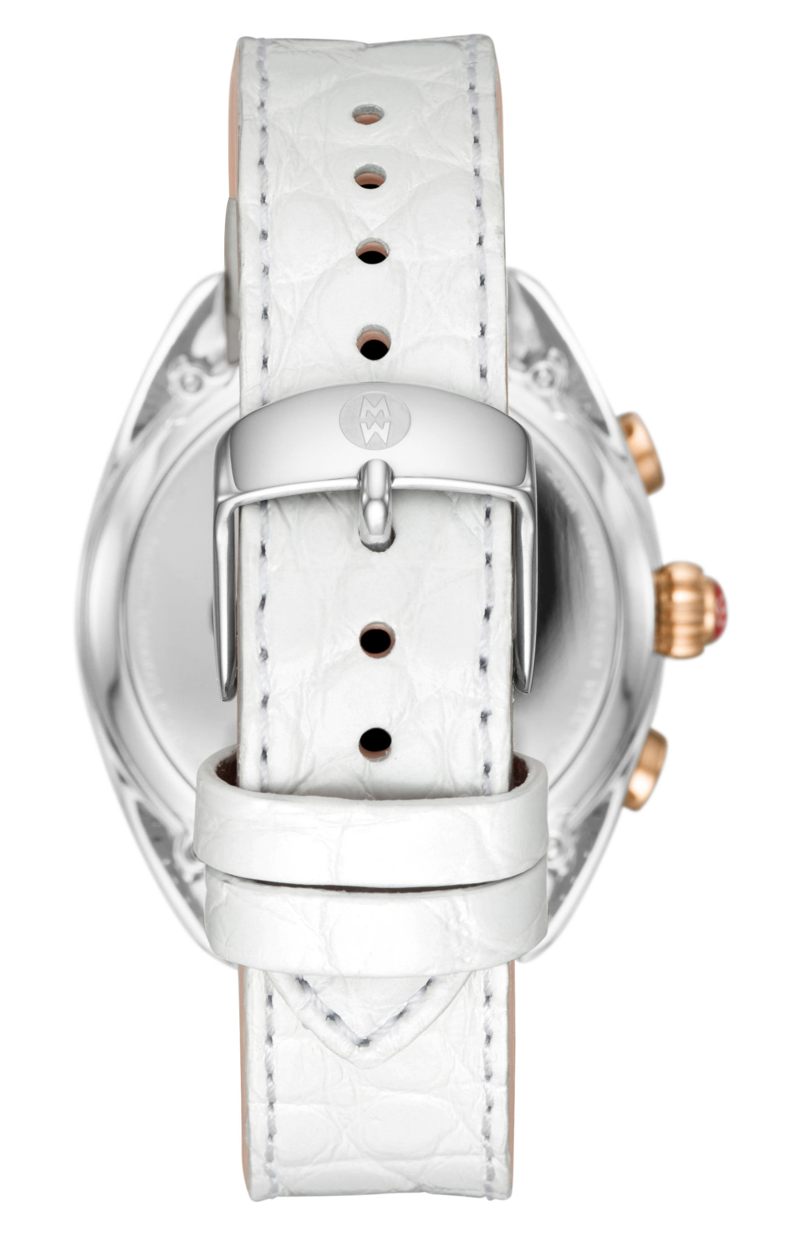 MICHELE, Hybrid Tracker Smart Watch, 38mm, Alternate thumbnail 2, color, WHITE/ SILVER/ ROSE GOLD