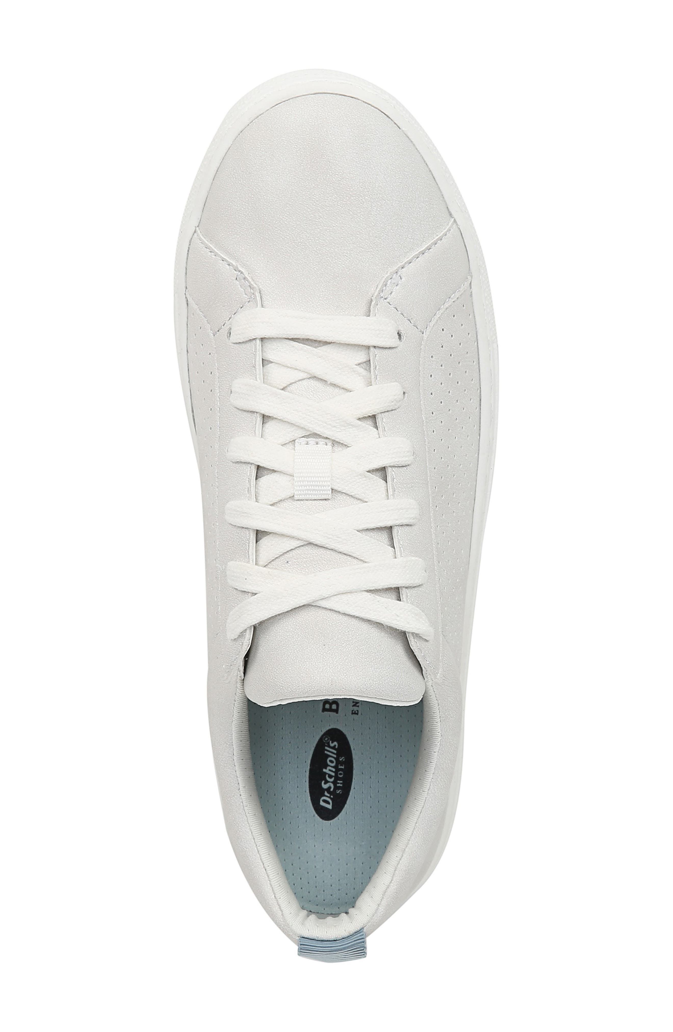 DR. SCHOLL'S, No Bad Vibes Sneaker, Alternate thumbnail 4, color, WHITE FAUX LEATHER