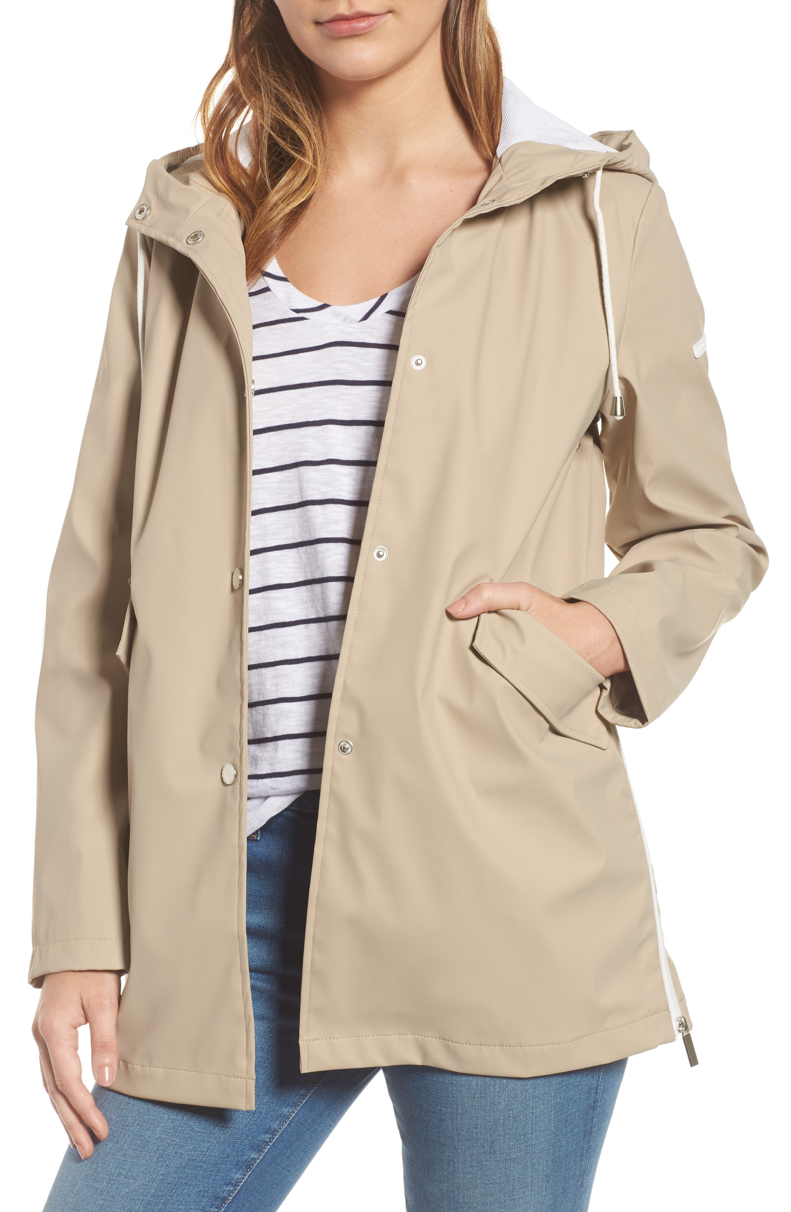 FRENCH CONNECTION, Side Zip Hem Hooded Slicker, Main thumbnail 1, color, 252