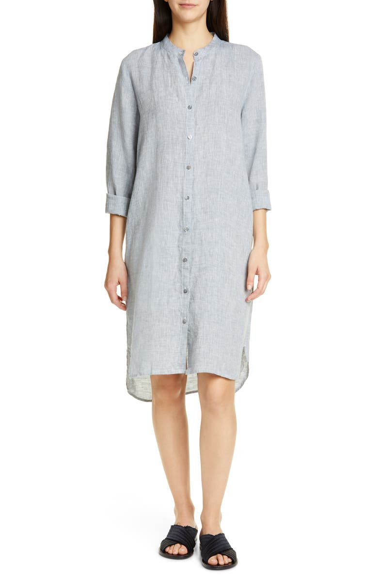 Plus Size Yarn-Dye Organic Linen Hanky Shirtdress in Chambray