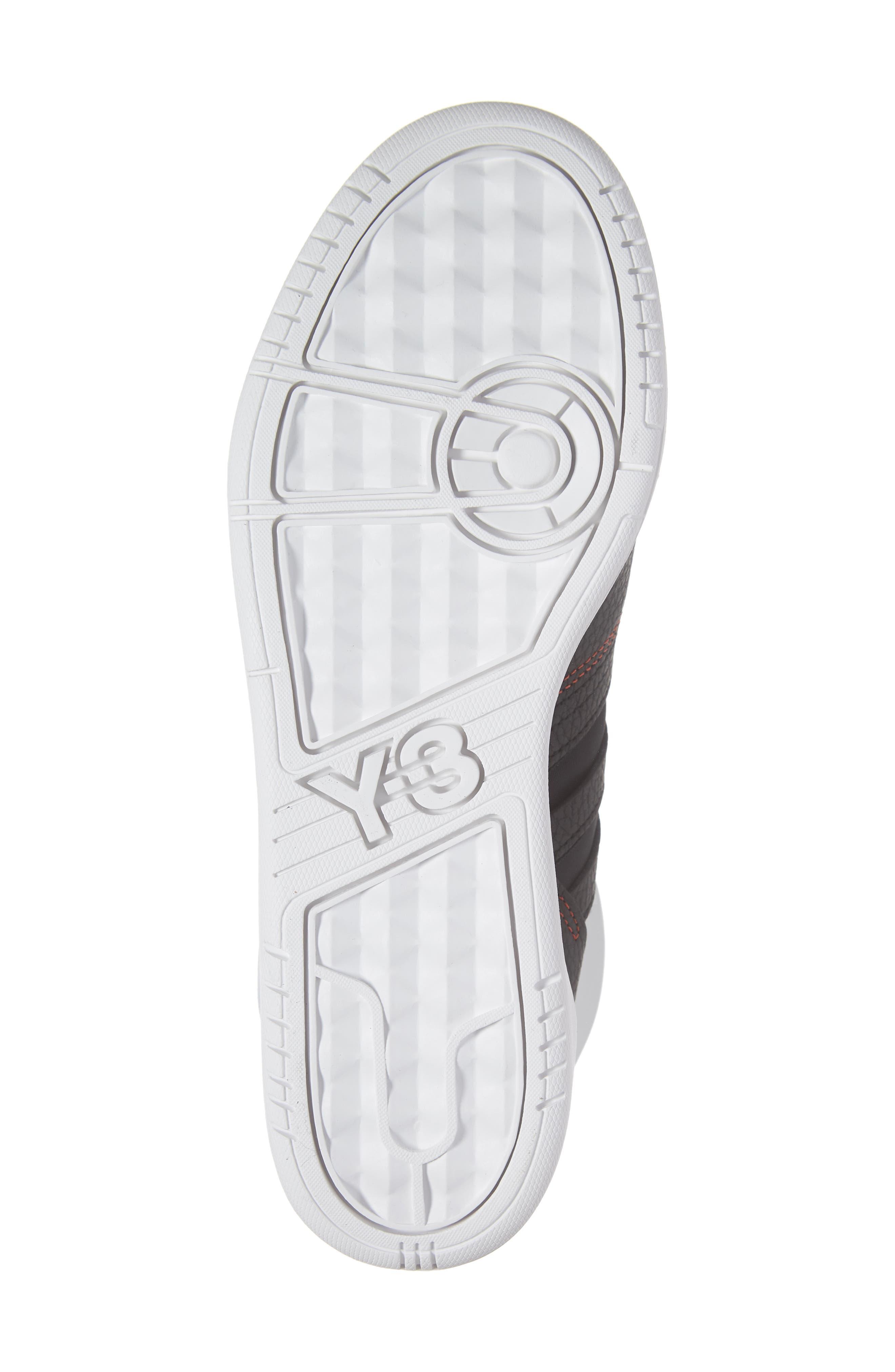 Y-3, x adidas Hayworth High Top Sneaker, Alternate thumbnail 6, color, BLACK/ BLACK/ RED