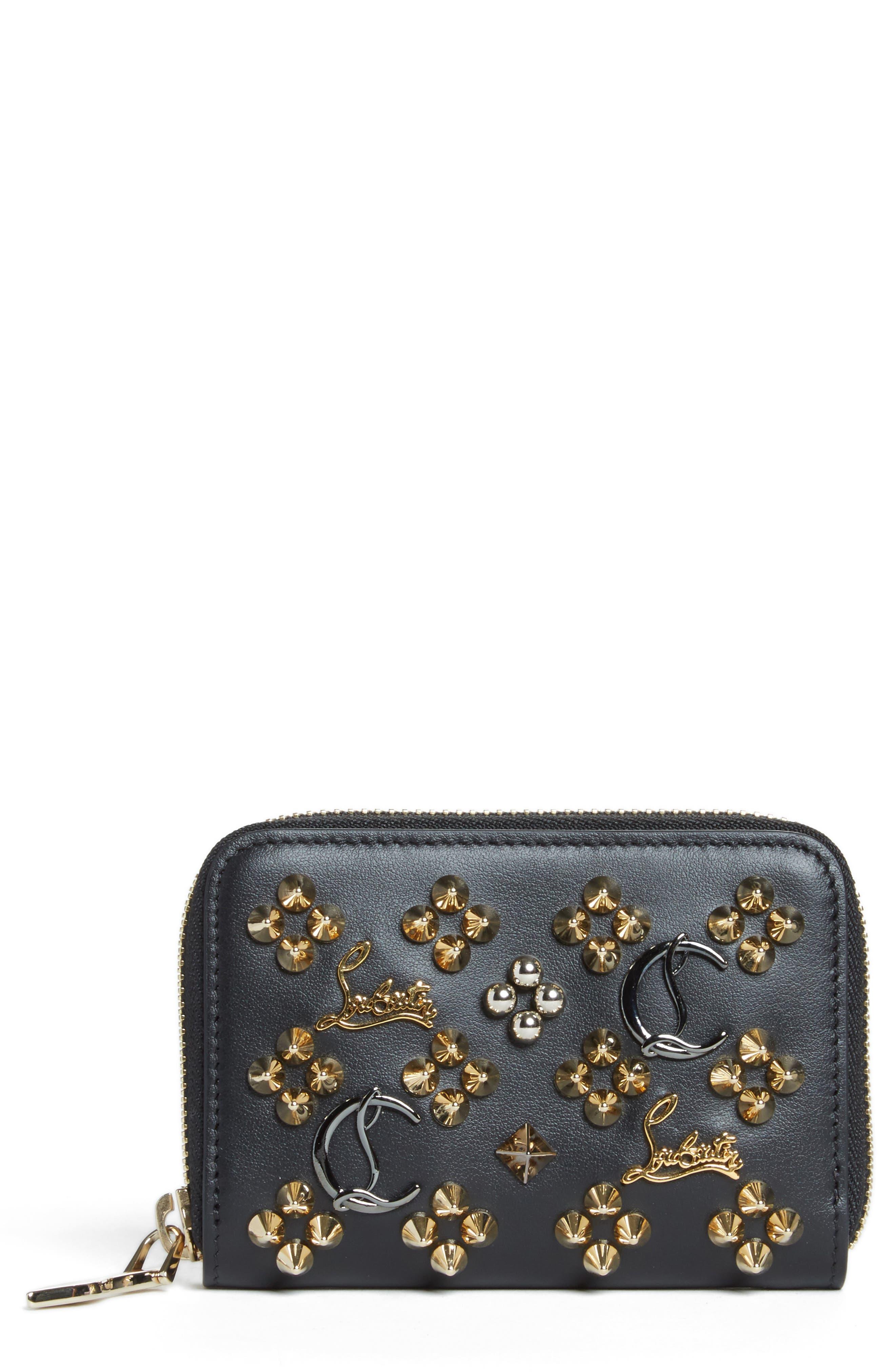 CHRISTIAN LOUBOUTIN Panettone Leather Coin Purse, Main, color, BLACK/MULTIMETAL